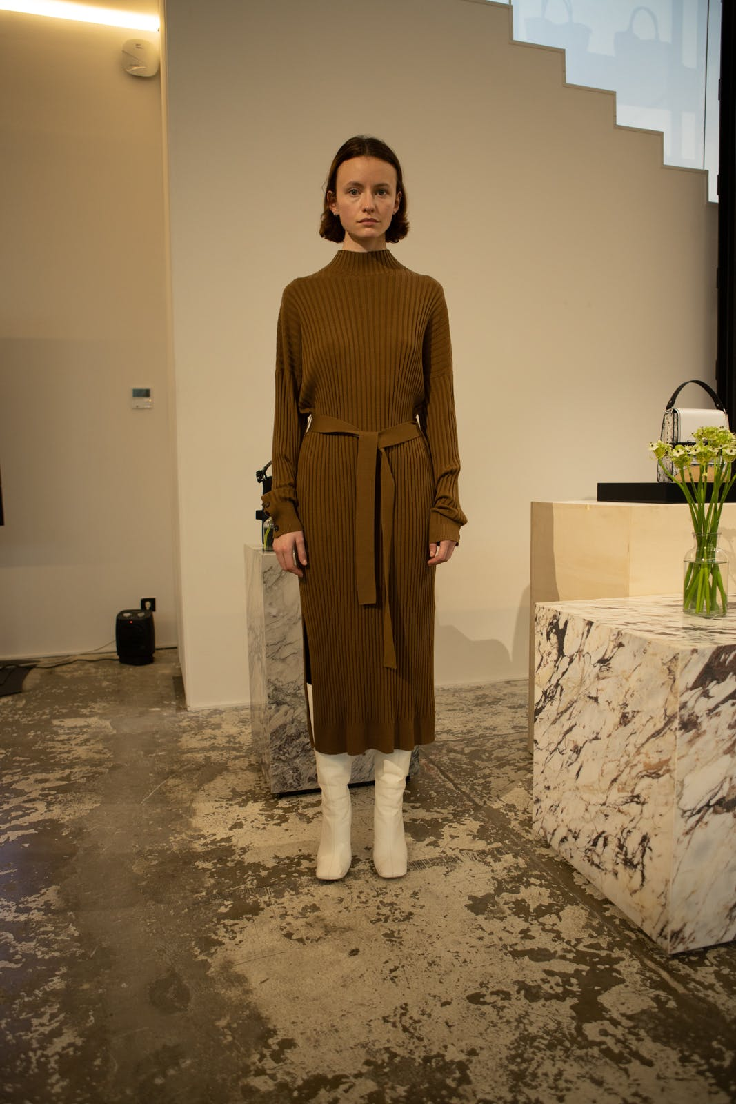 proenza schouler fw20 brown high neck belted dress