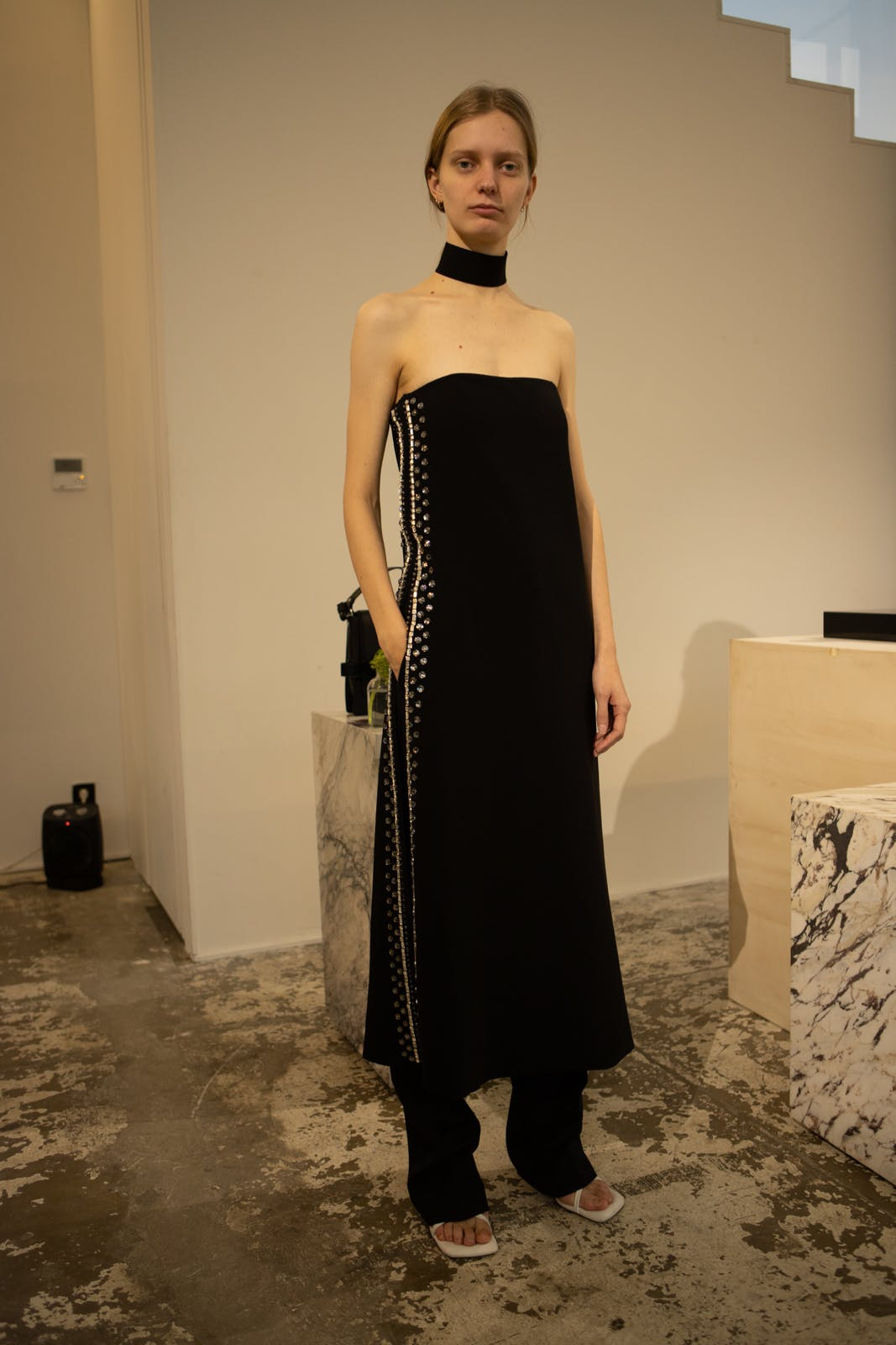 proenza schouler fw20 long side detail black dress