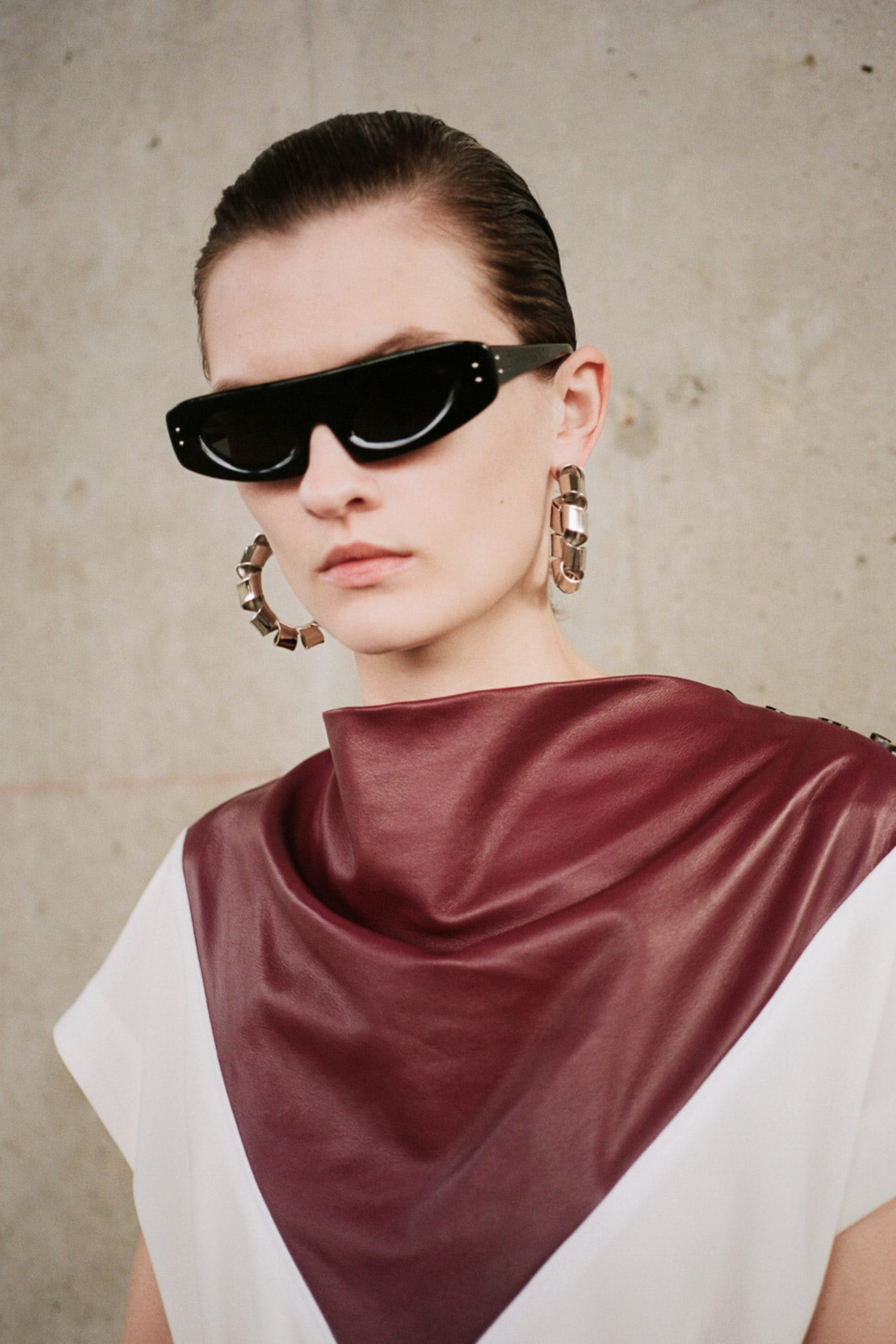 proenza schouler pf20 black sunglasses red leather cowl neck detail top