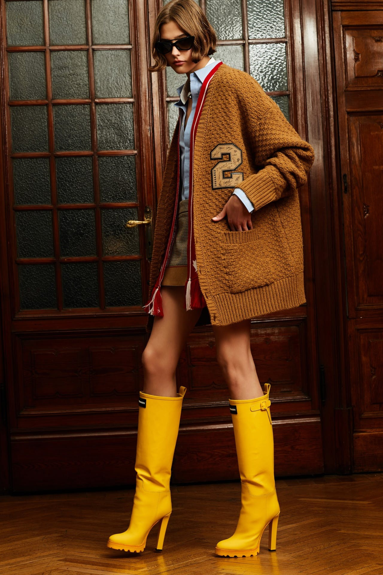 dsquared2 pre fall milan fashion runway backstage pre order trunk show school jacket yellow boots showroom