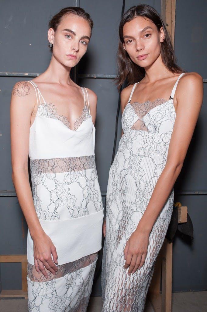Dion Lee Backstage Lace Encasement Suspended Dress in White Encasement Lace Perf Dress in White Spring 19 RTW