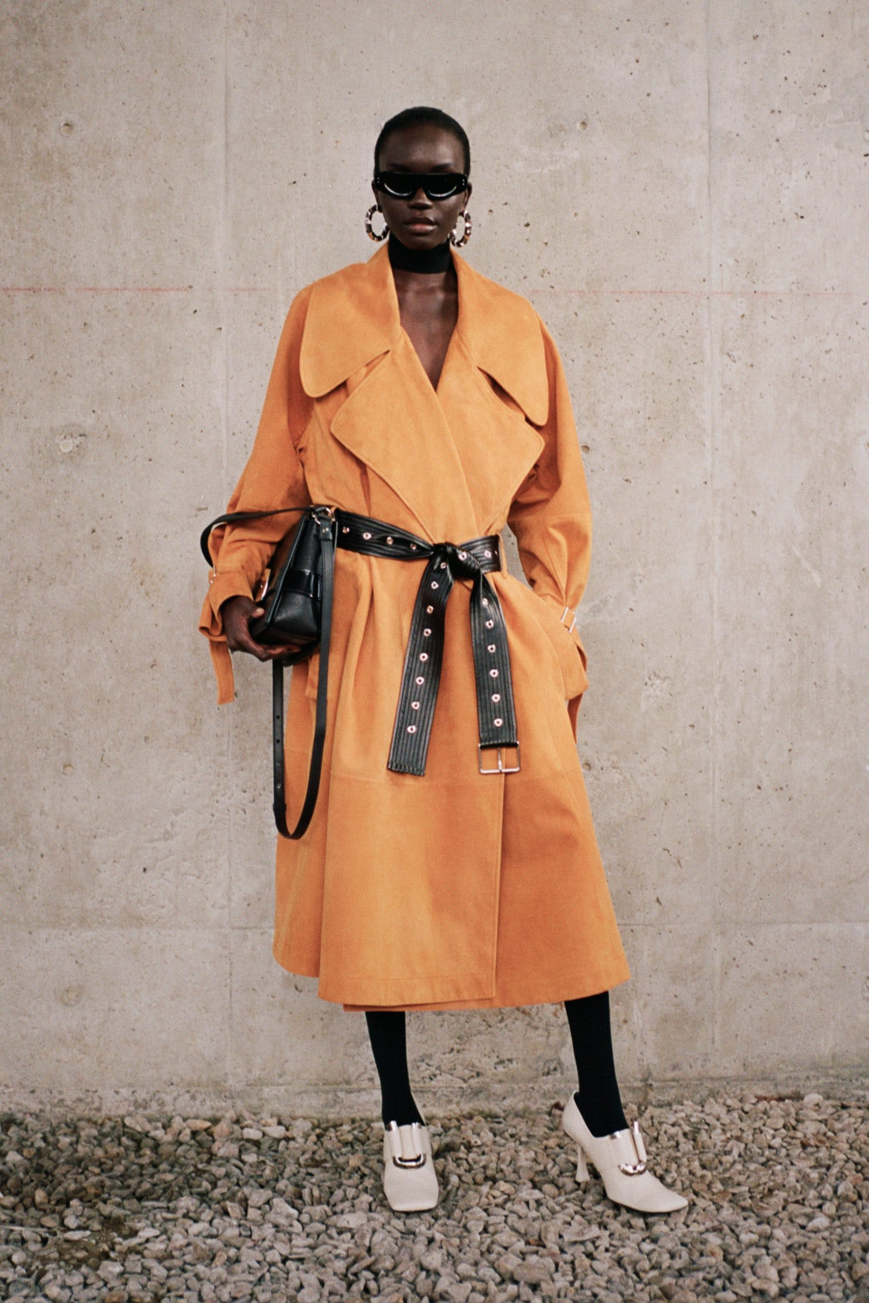proenza schouler pf20 orange oversized collar black belted coat white square toe pumps