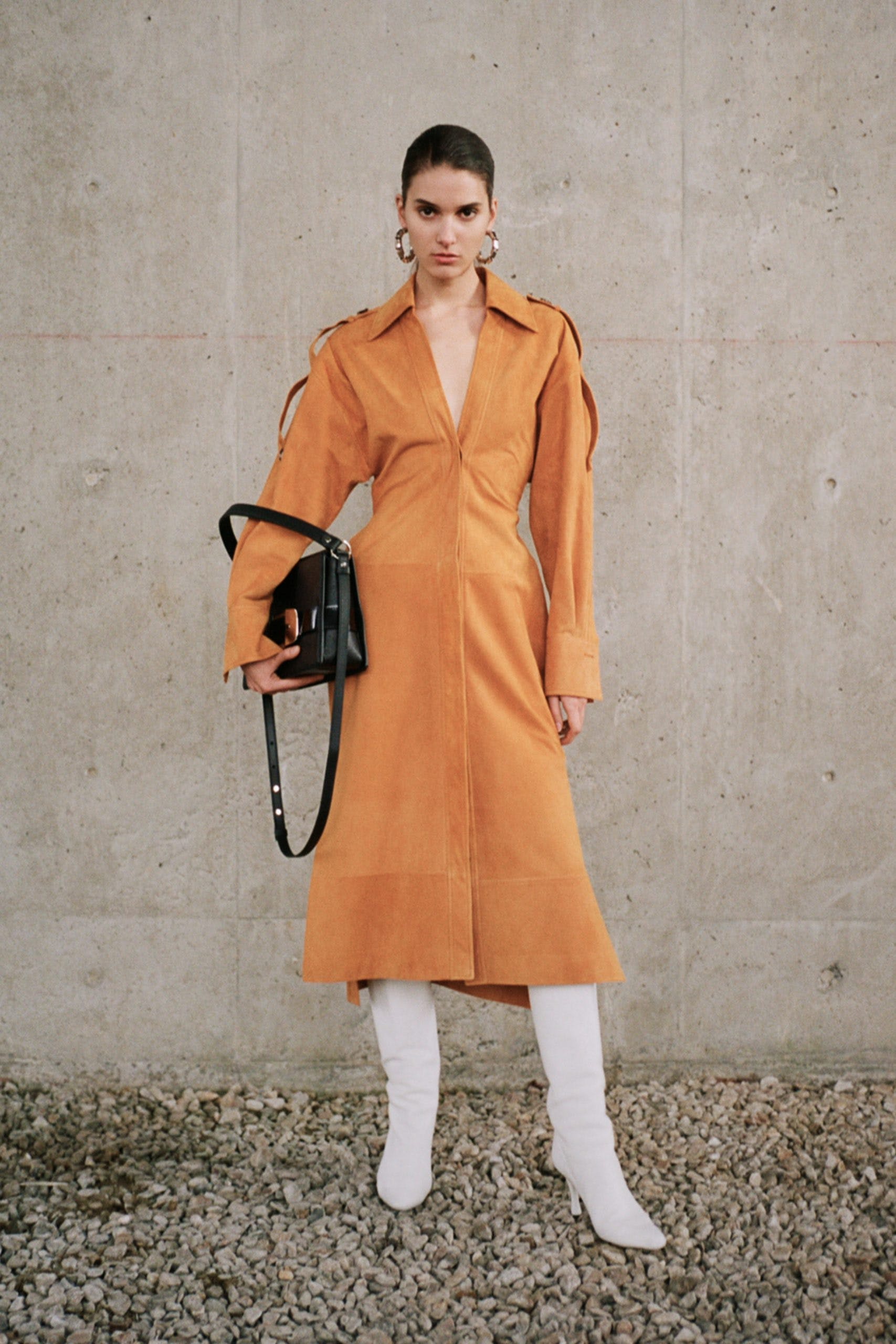 proenza schouler pf20 orange collar dress white high leather boots