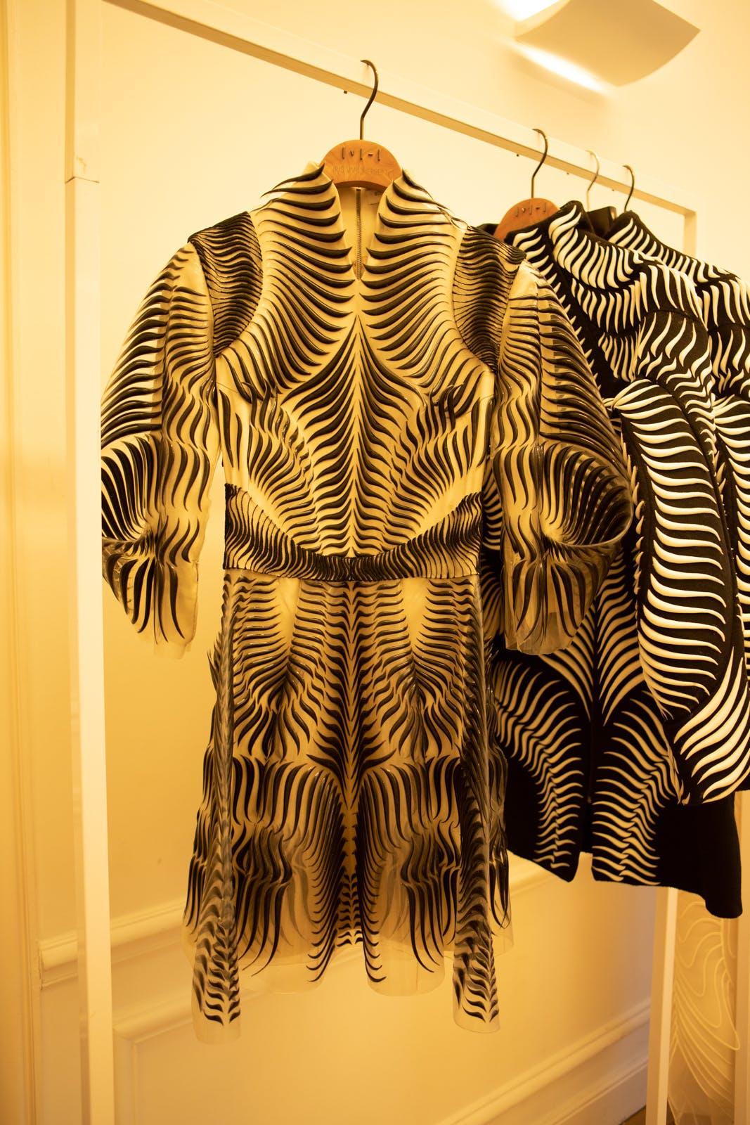 iris van herpen print black and white dress couture