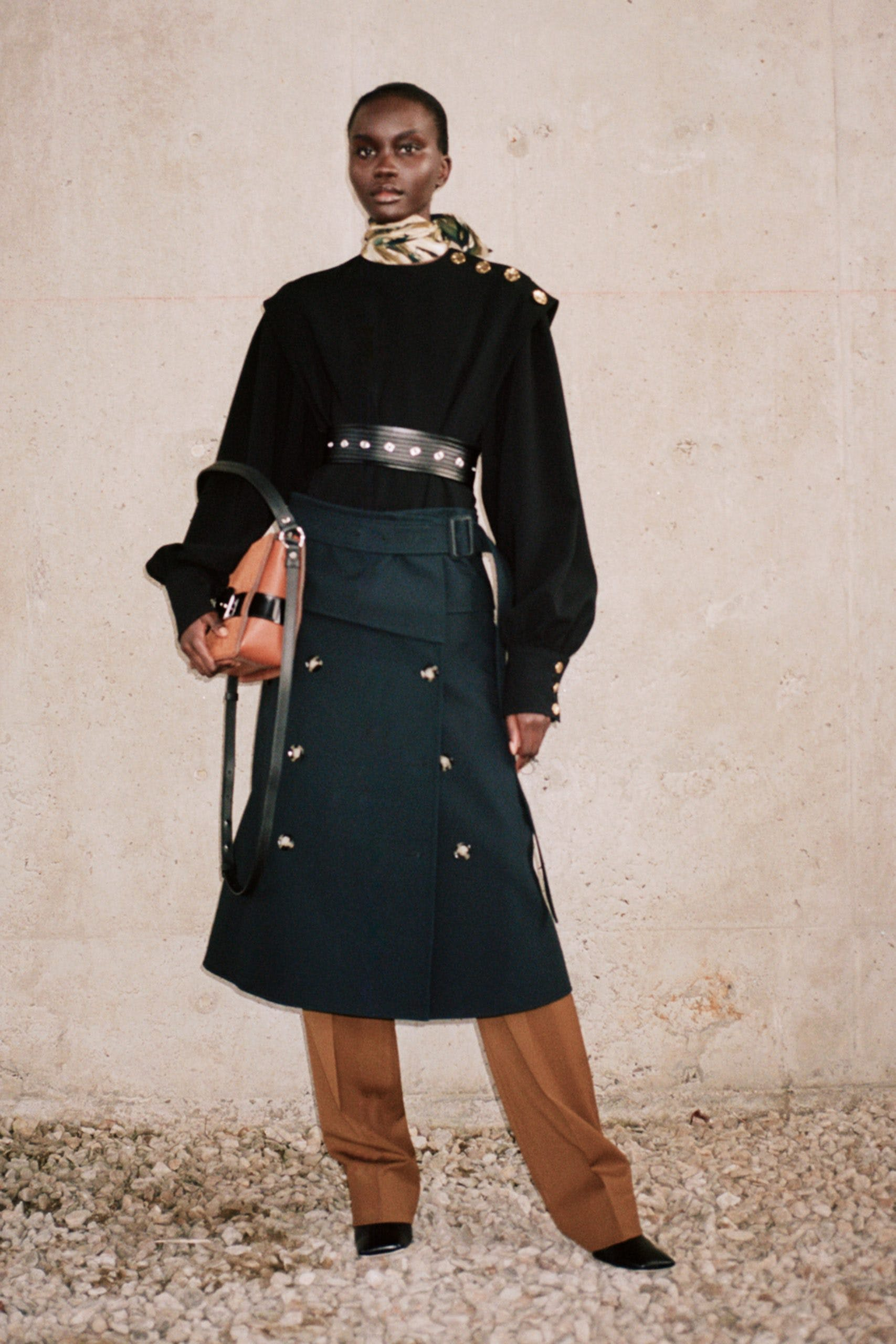 proenza schouler pf20 black ls gold button detailed top green button belted skirt brown trousers
