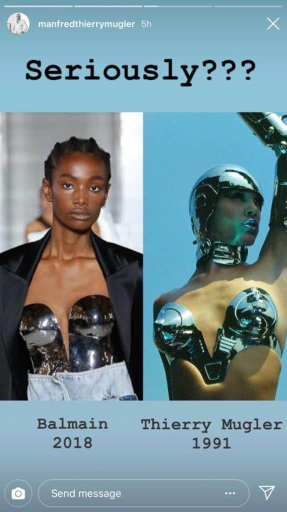 balmain thierry mugler copy scandal ss19 runway fashion oliver rousteing metal bustier
