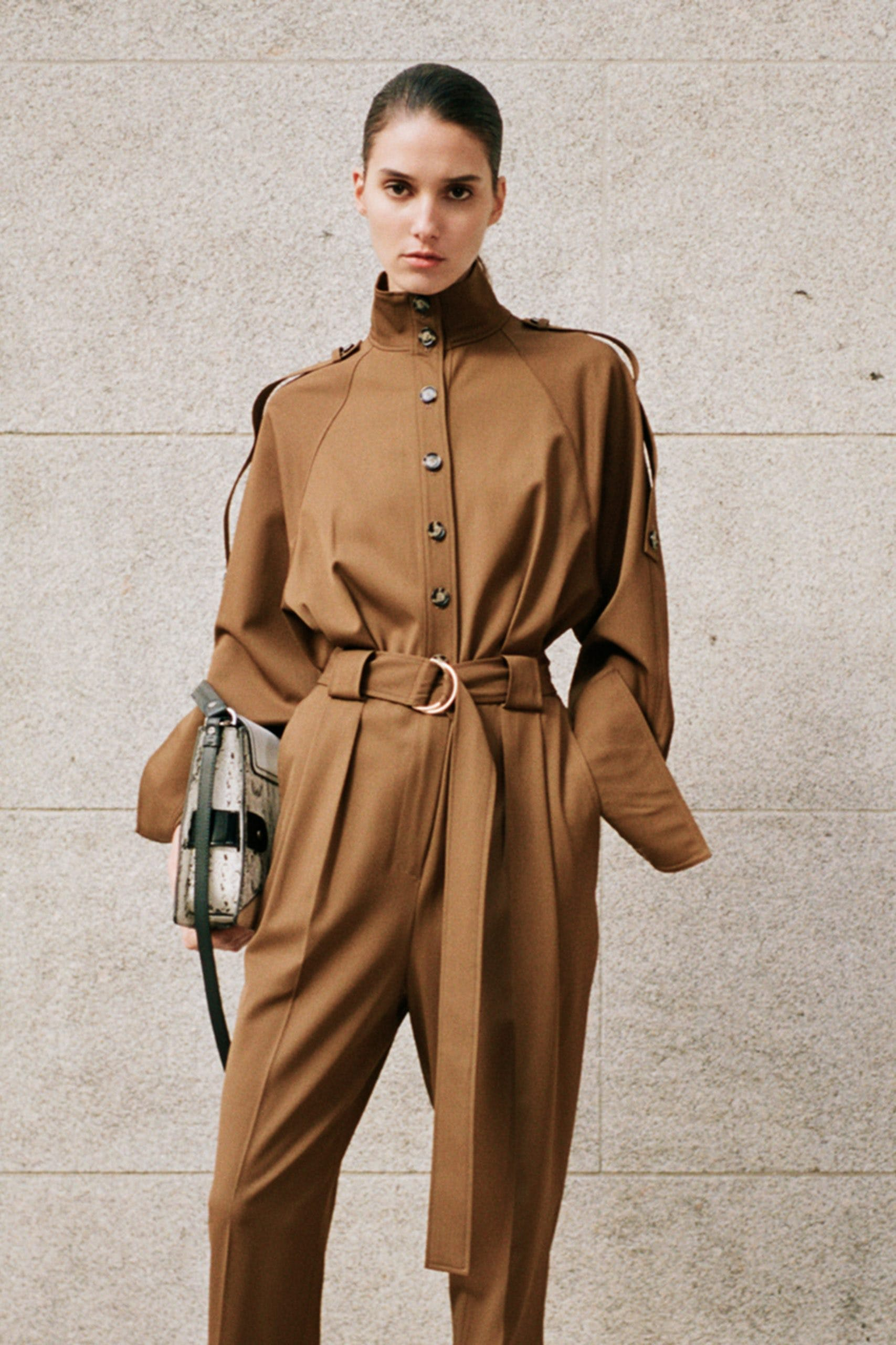 proenza scohuler pf20 brown high neck button up belted jumpsuit