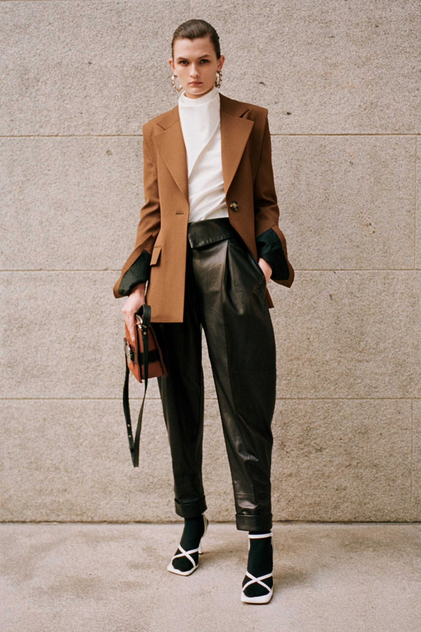 proenza schouler pf20 brown blazer white cowl top black leather fold over trousers white strap heels