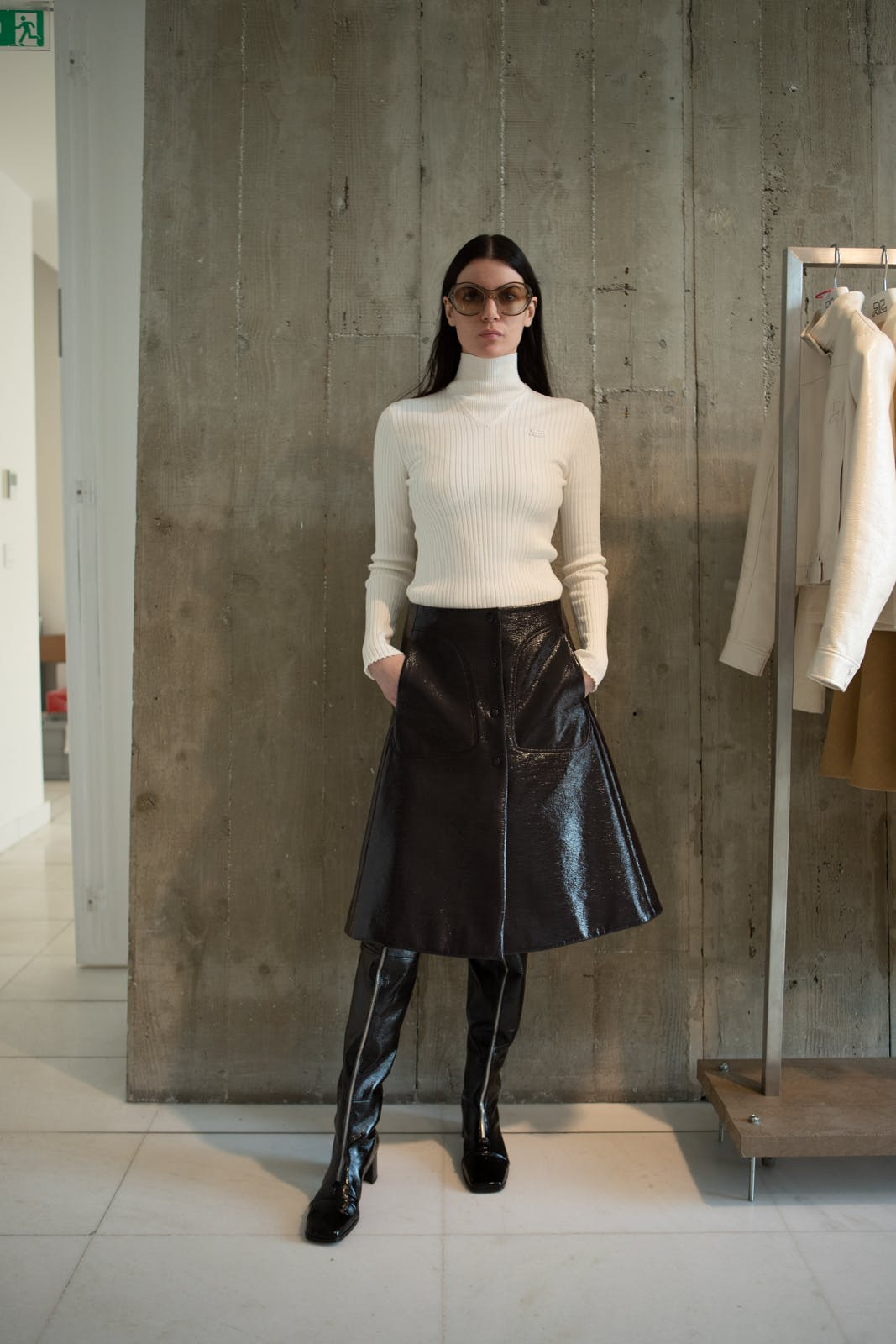 courreges fall winter 2020 runway show backstage womenswear showroom pre order trunk show leather skirt