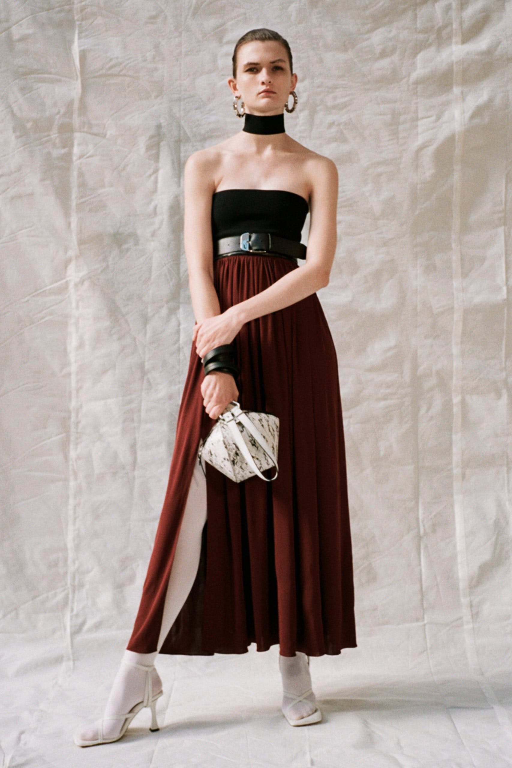 proenza schouler pf20 black tube top black belt red high waisted pleated maxi slit skirt white strap heels