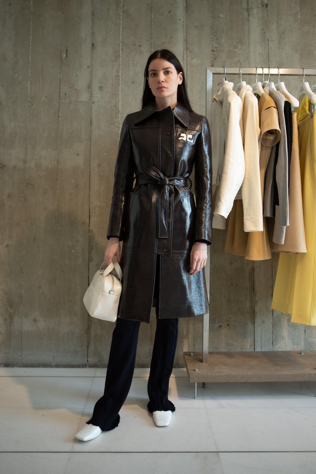 courreges fall winter 2020 runway show backstage womenswear showroom pre order trunk show paris coat