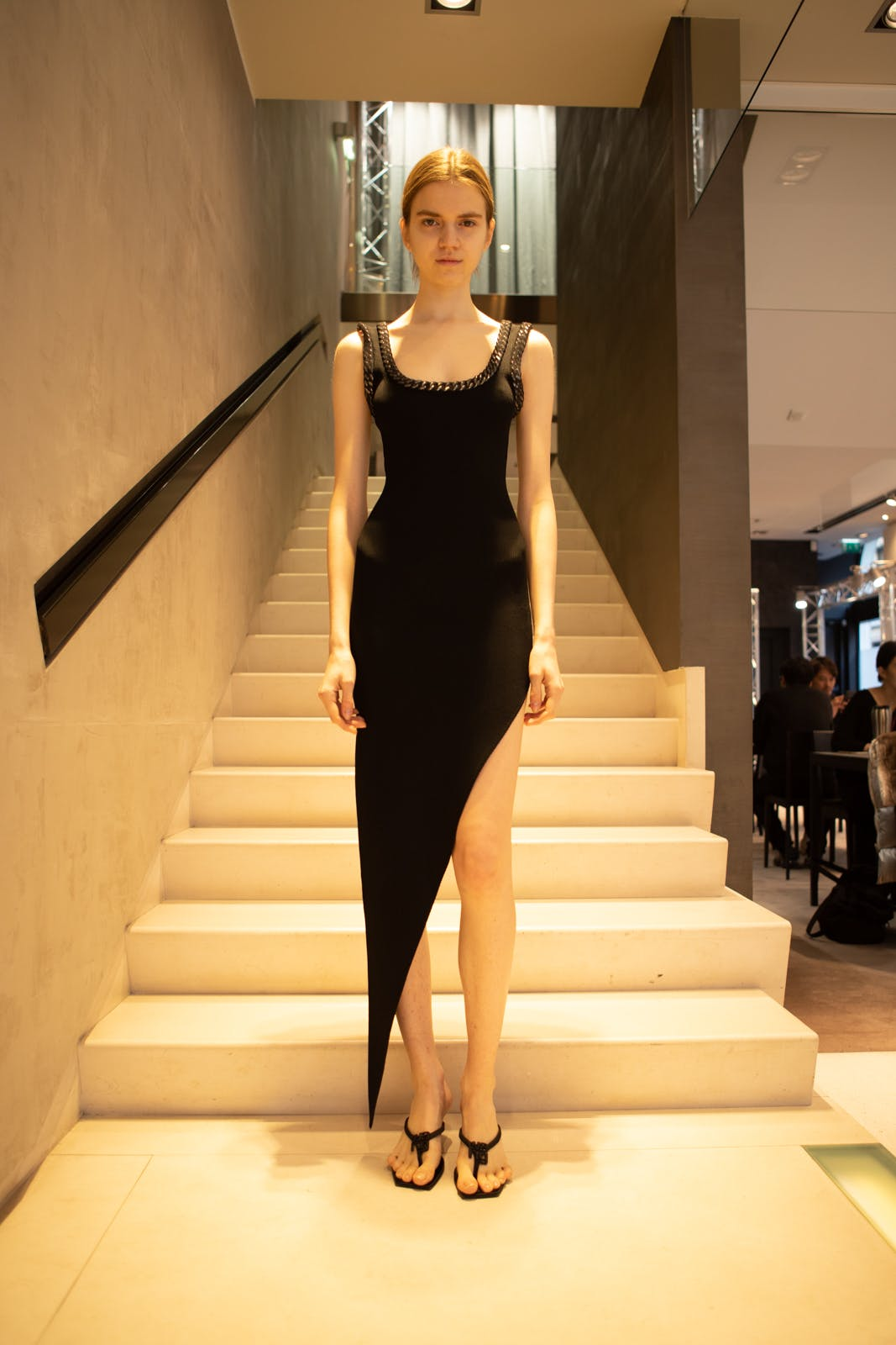 Alexander Wang Sleeveless Scoop Neck Asymmetrical Dress in Black FW 20