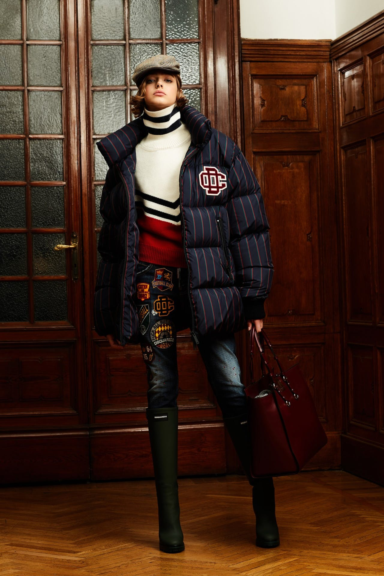 dsquared2 pre fall milan fashion runway backstage pre order trunk show womenswear stripe jacket showroom