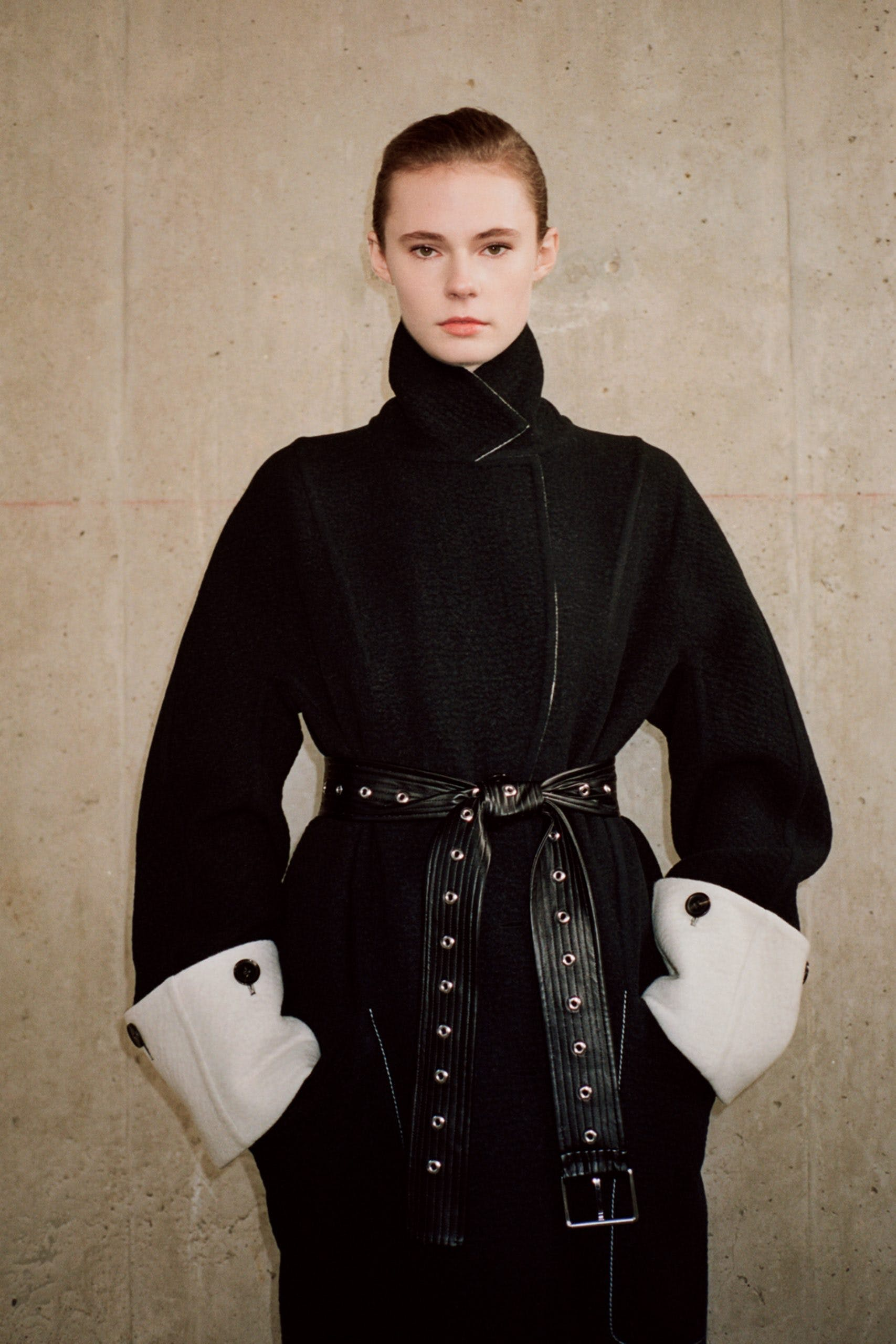 proenza schouler pf20 black belted coat fold over white sleeves