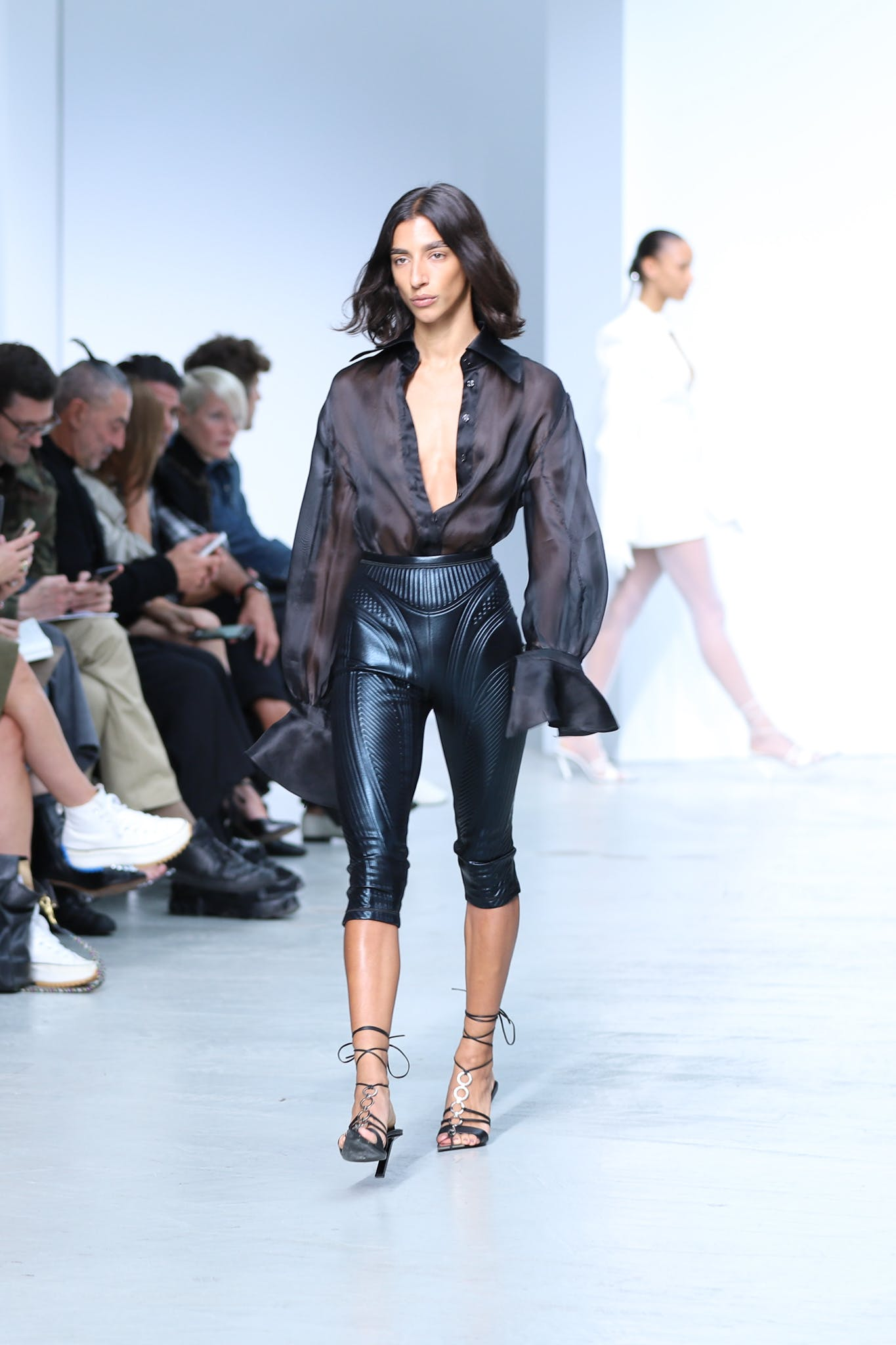 Mugler Runway Long Sleeve Sheer Button Up Bodysuit Three Quarter Length Suba Leggings in Black Leather Tie Up Heels in Black Spring 20 RTW