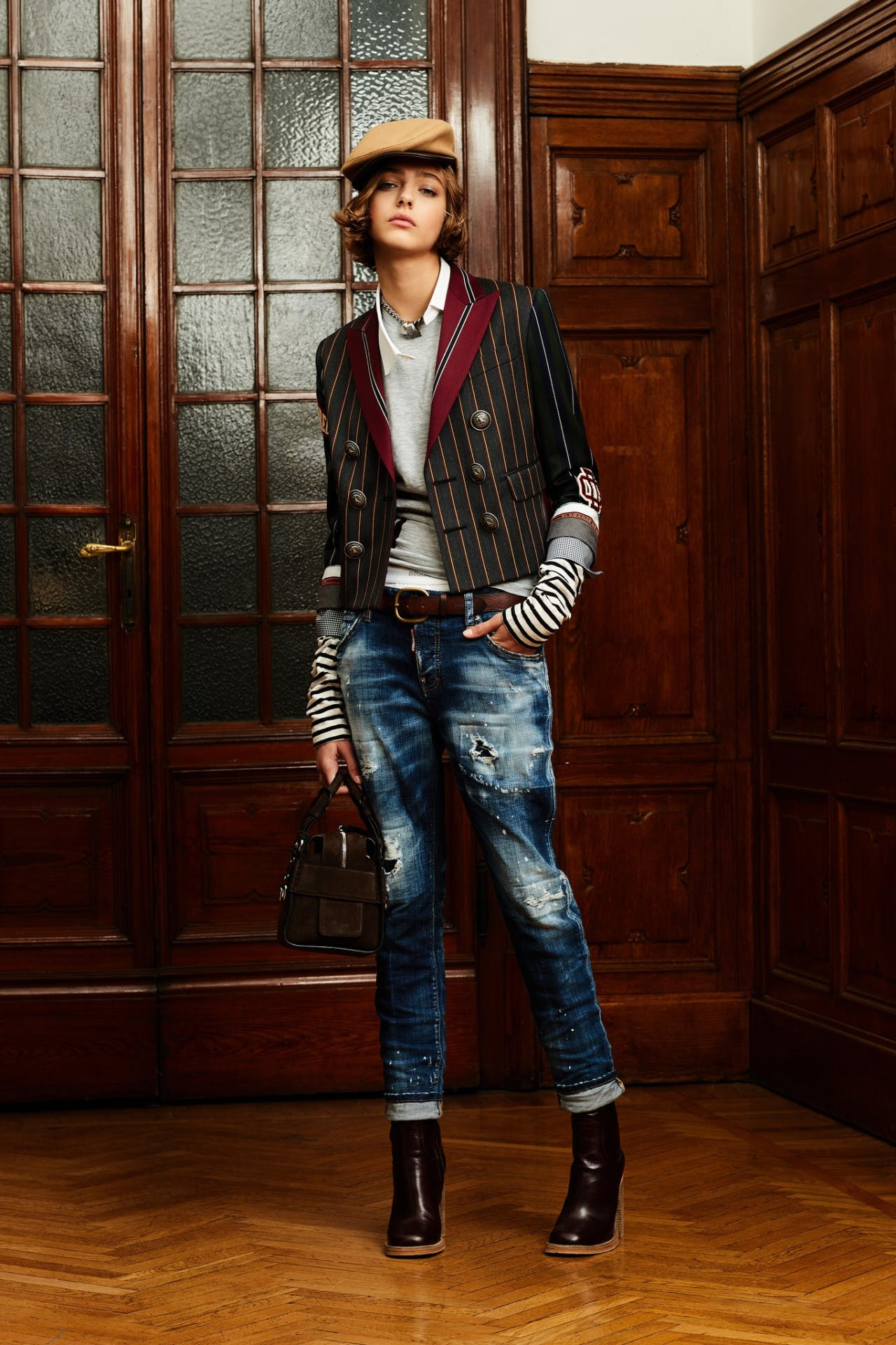 dsquared2 pre fall milan fashion runway backstage pre order showroom trunk show womenswear stripe blazer