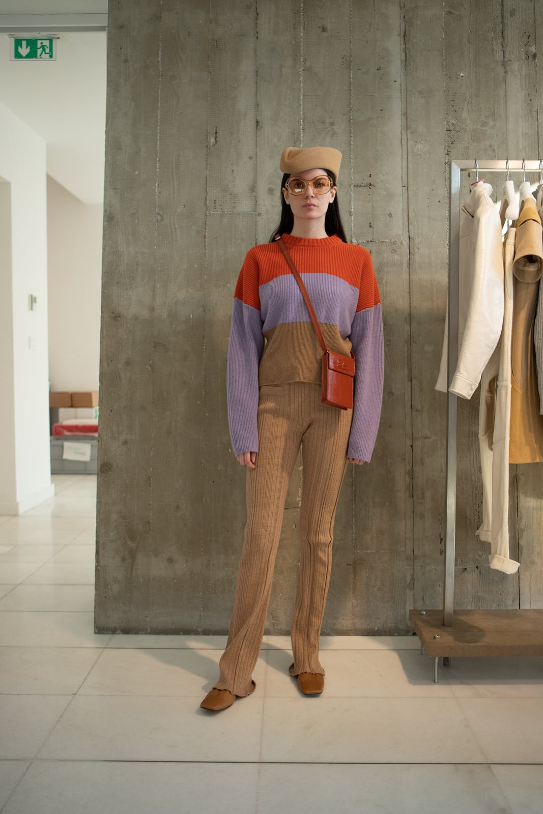 courreges fall winter 2020 runway show backstage womenswear showroom pre order trunk show color block