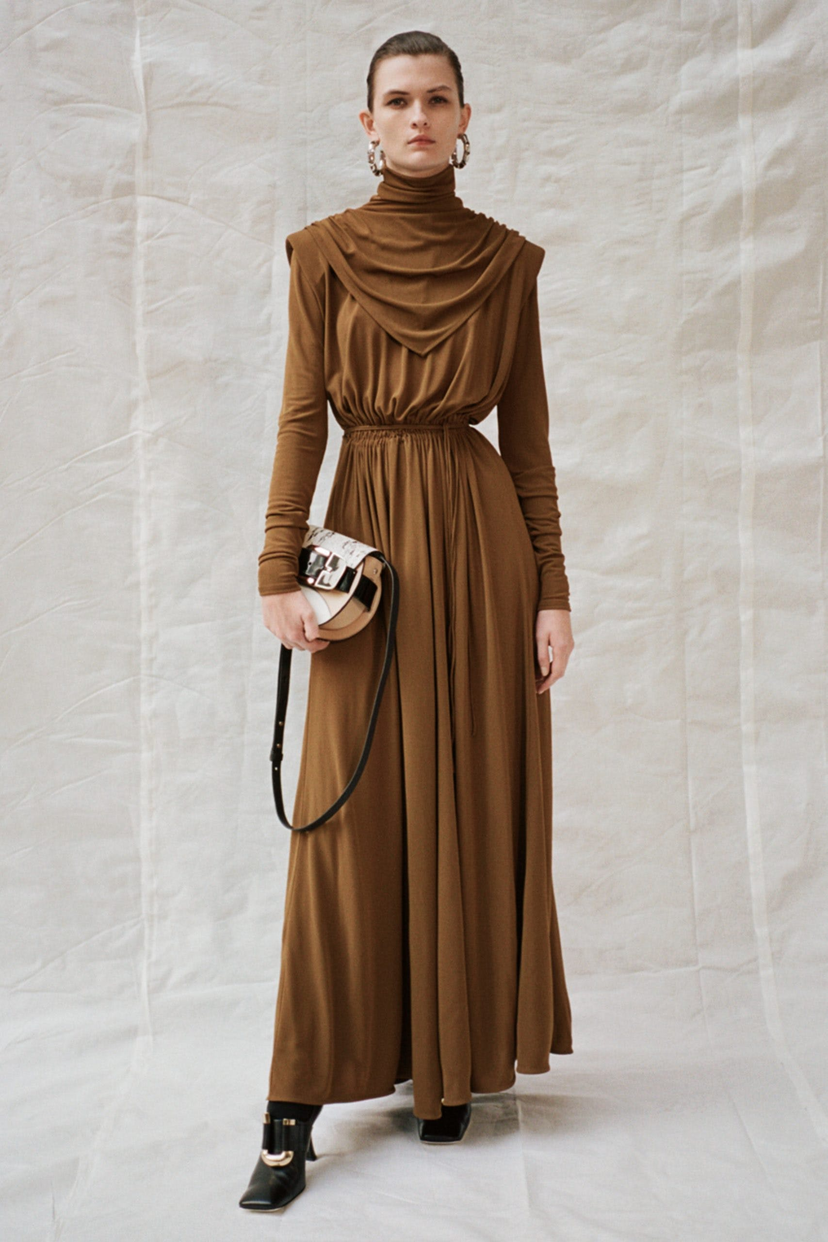 proenza scohuler pf20 brown cowl neck dress