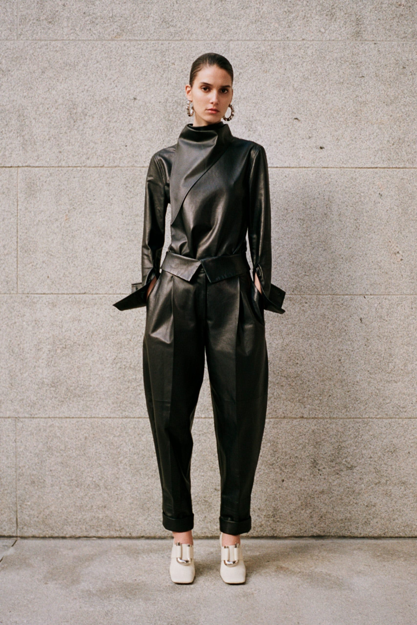 proenza schouler black leather cowl neck top black leather fold over trousers white square toe pumps