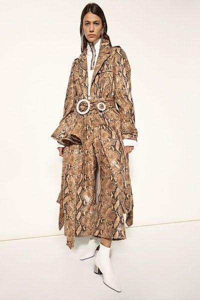 Ellery Spectrum Faux-Snakeskin Trench Coat In Camel Faux-Snakeskin Flared Trousers in Camel Fall 19 RTW