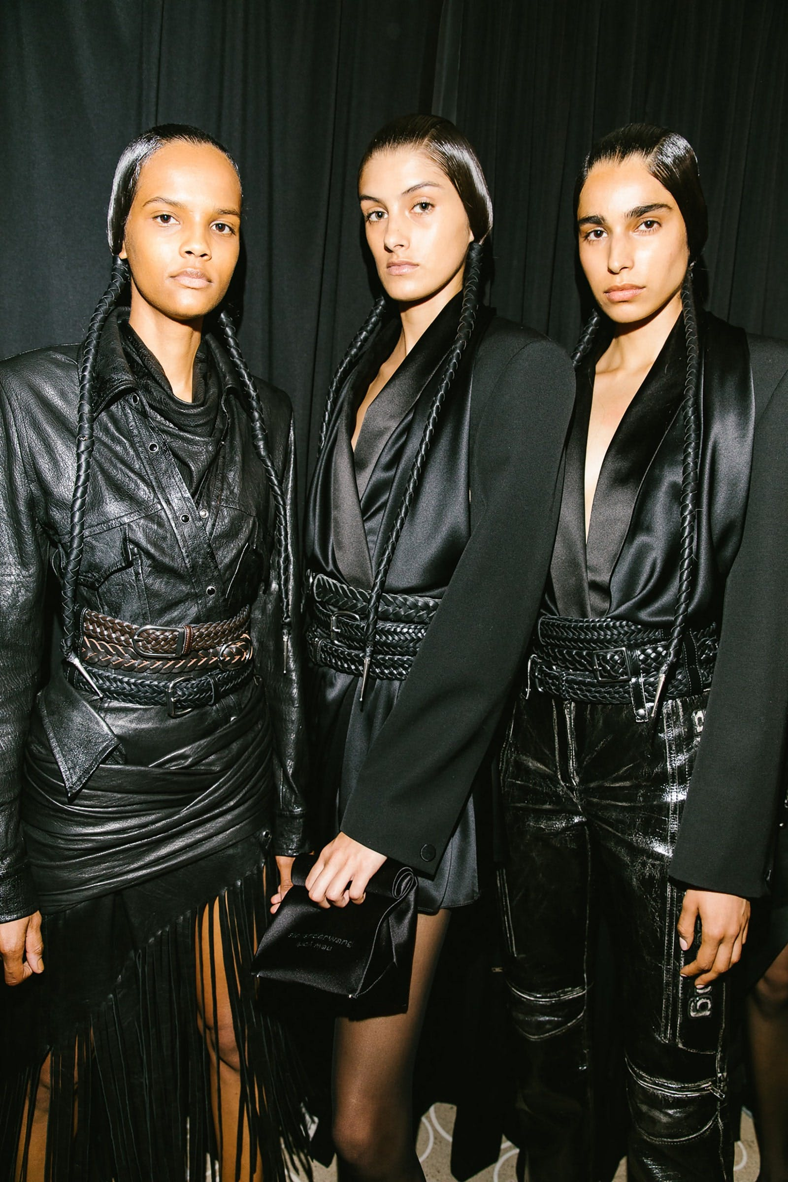 Alexander Wang Backstage Models in Padded Tuxedo Blazer and Black Leather Spring 20 RTW