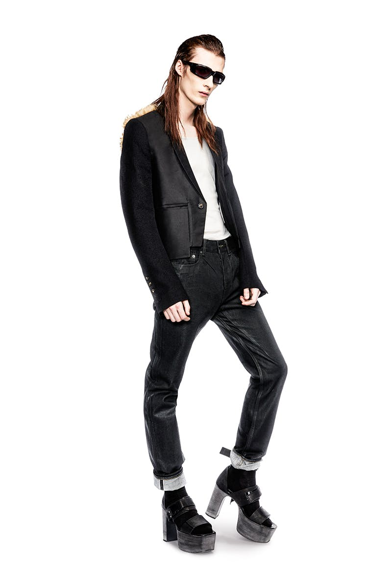 Rick Owens Campaign Multi Fabric Blazer in Black And Fur Slim Tank Top in White Slim Selvedge Waxed Denim Larry Stap Sandal in Black Mens FW19 Larry