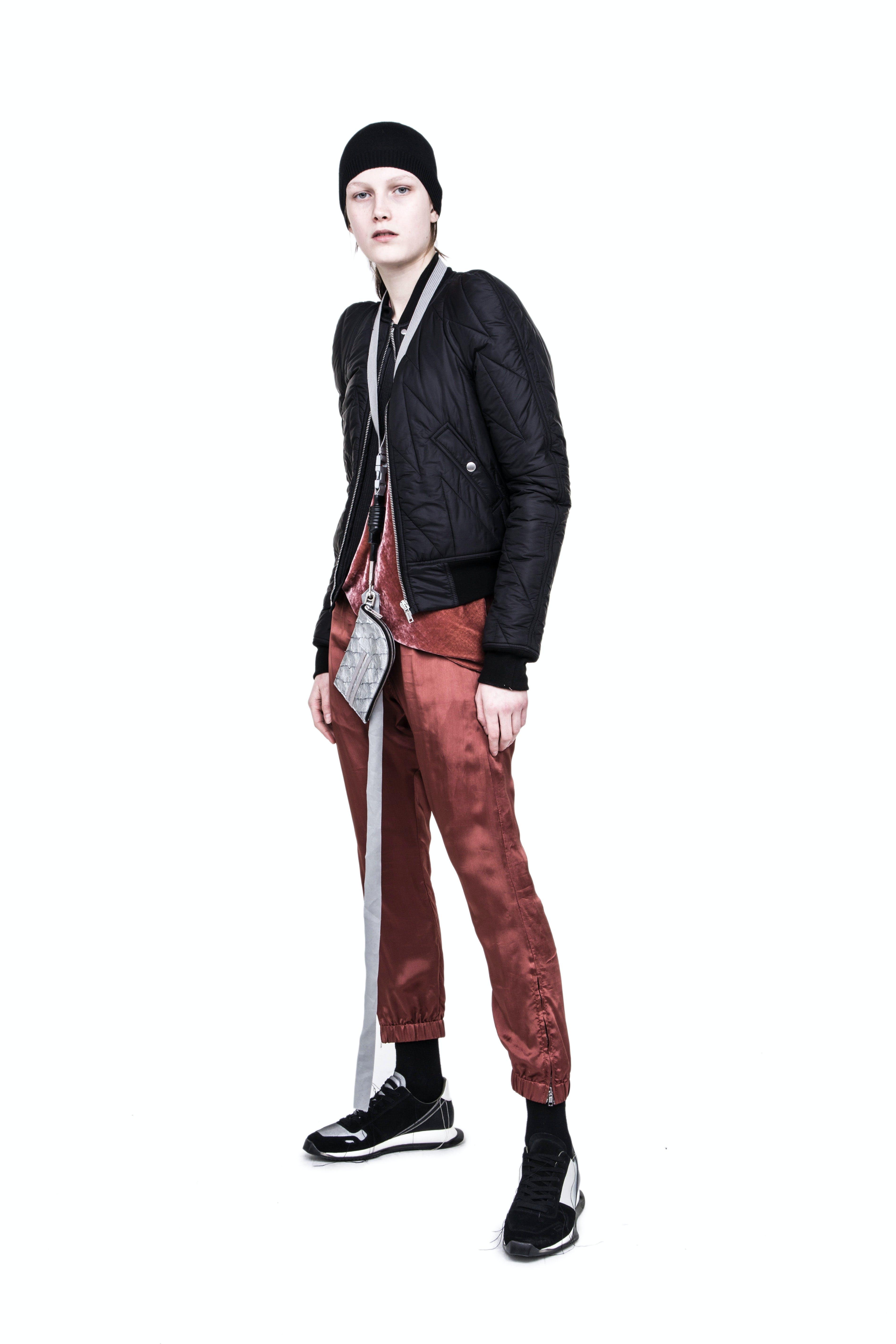 Rick Owens Campaign Flight Jacket in Black Drawstring Track Pants in Orange Pirarucu Skin Classic Neck Wallet Womens SS19 Babel
