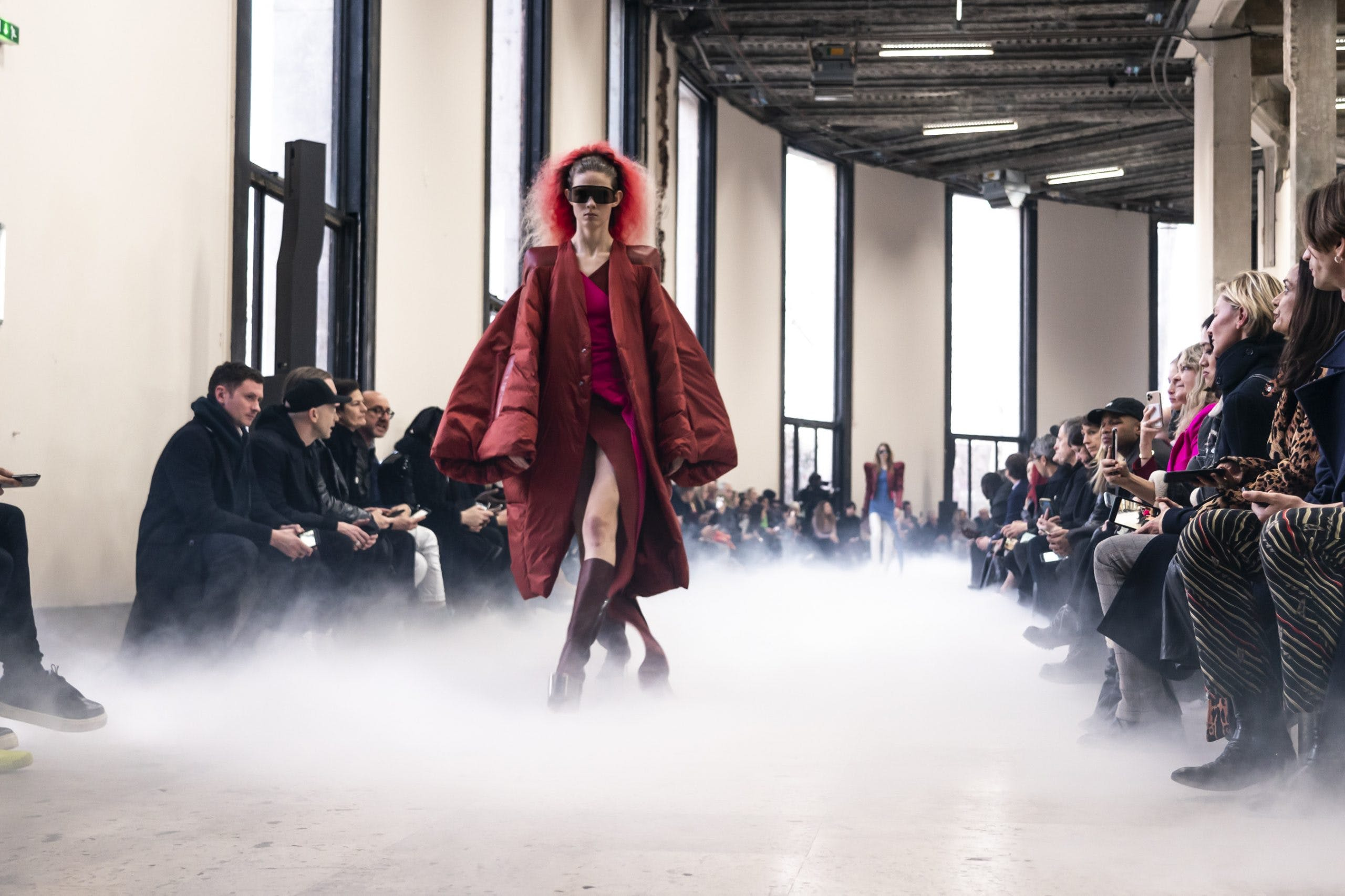 Rick Owens Runway Shield Sunglasses in Black Capped Leather Shoulder Exaggerated Sleeve Coat in Red Slit Two Tone Dress in Red High Kiss Grill Boots in Red Womens FW20 Performa