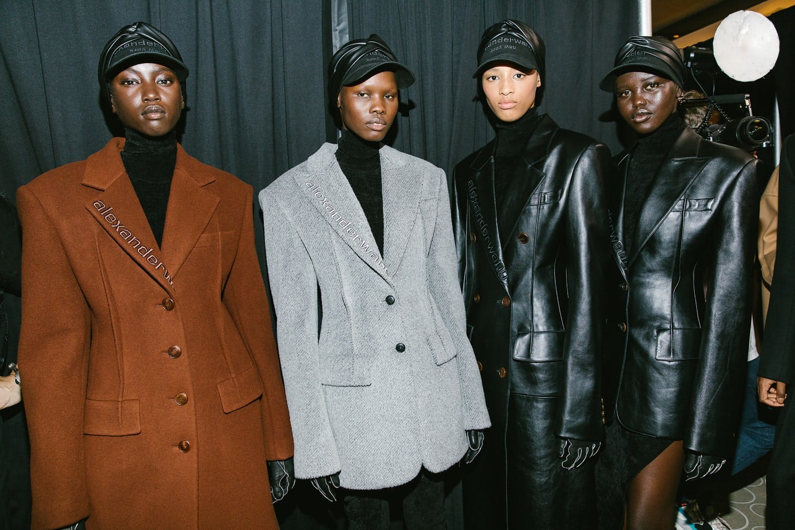 Alexander Wang Backstage Models in Logo Embroidered Coats and Blazers in Wool and Leather Spring 20 RTW