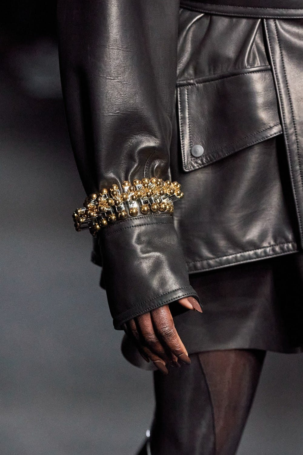Mugler Runway Details Oversized Belted Jacket in Black Leather Chunky Bracelet in Gold Fall 20 RTW