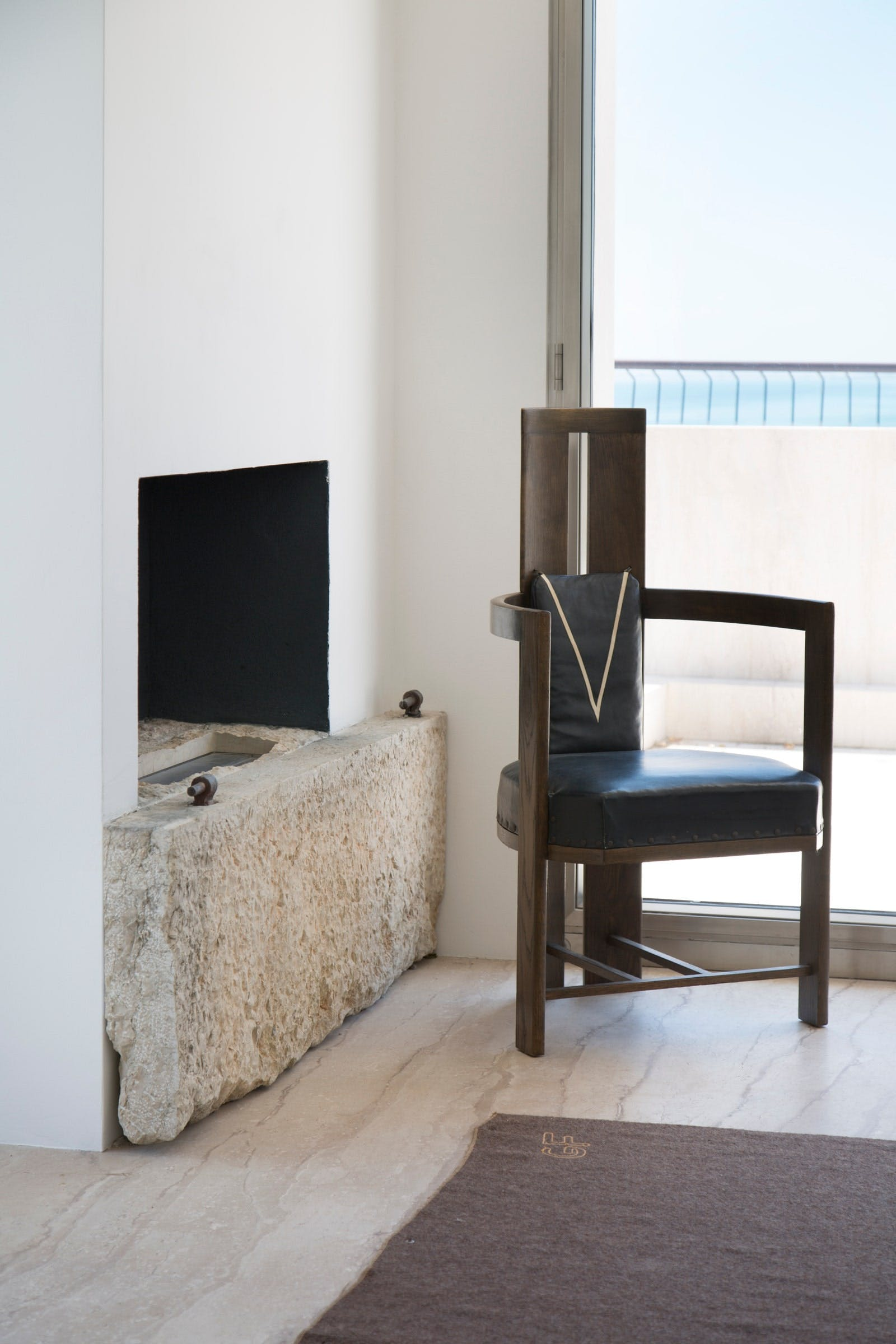 Rick Owens's minimalist house in Venice, Italy - Fireplace.