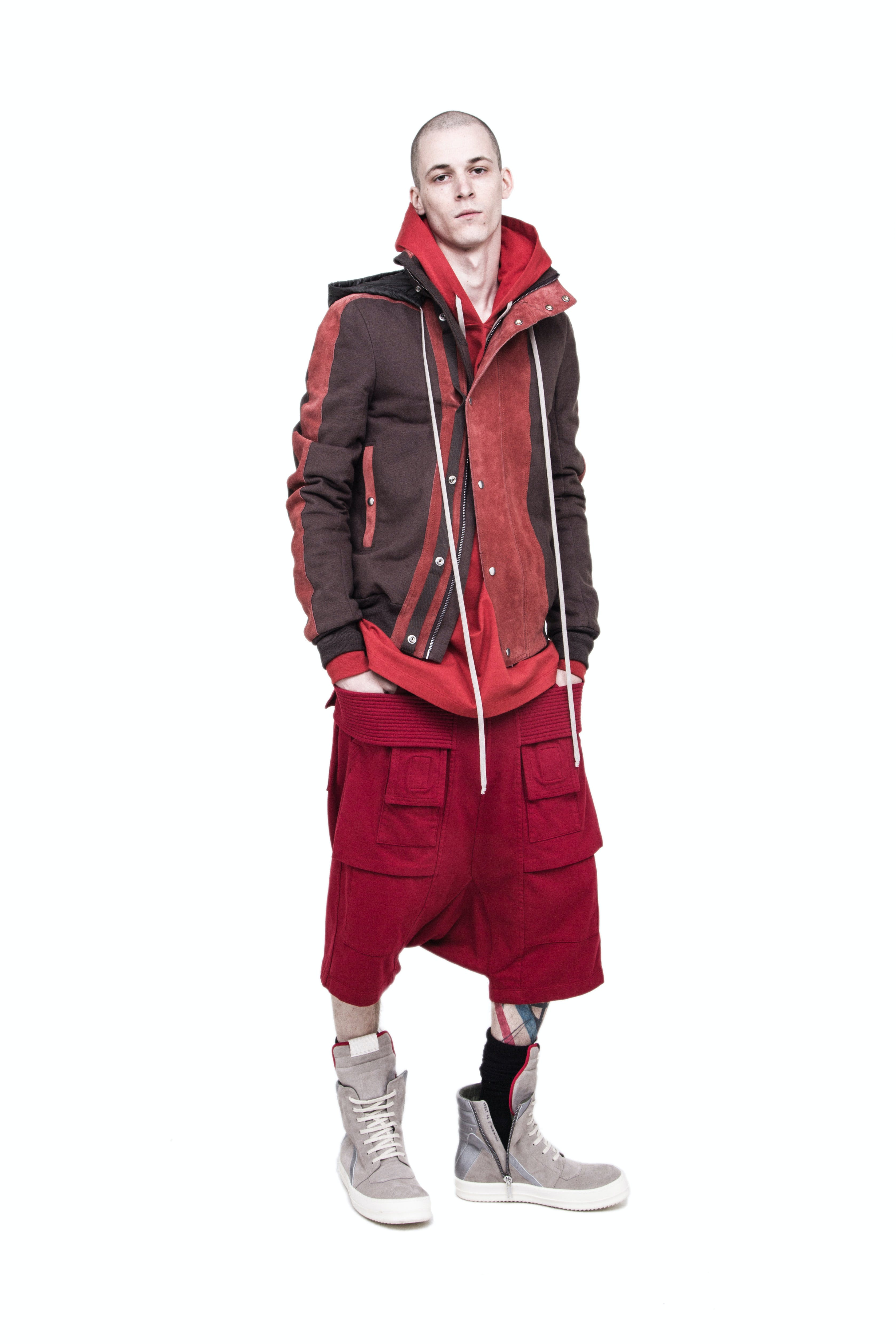 Rick Owens Campaign Multi Colored Zip Up Drawstring Jacket Zip Up Hoodie Creatch Pods in Red Geobasket High Top Sneakers In Grey Mens SS19 Babel