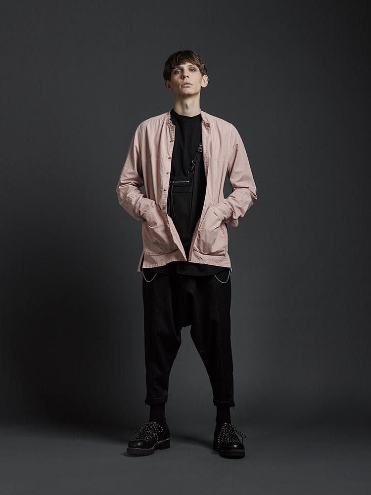 The Viridi-Anne Campaign No Collar Button Up Shirt Jacket in Pink Loose Fit Cropped Trousers in Black AW19