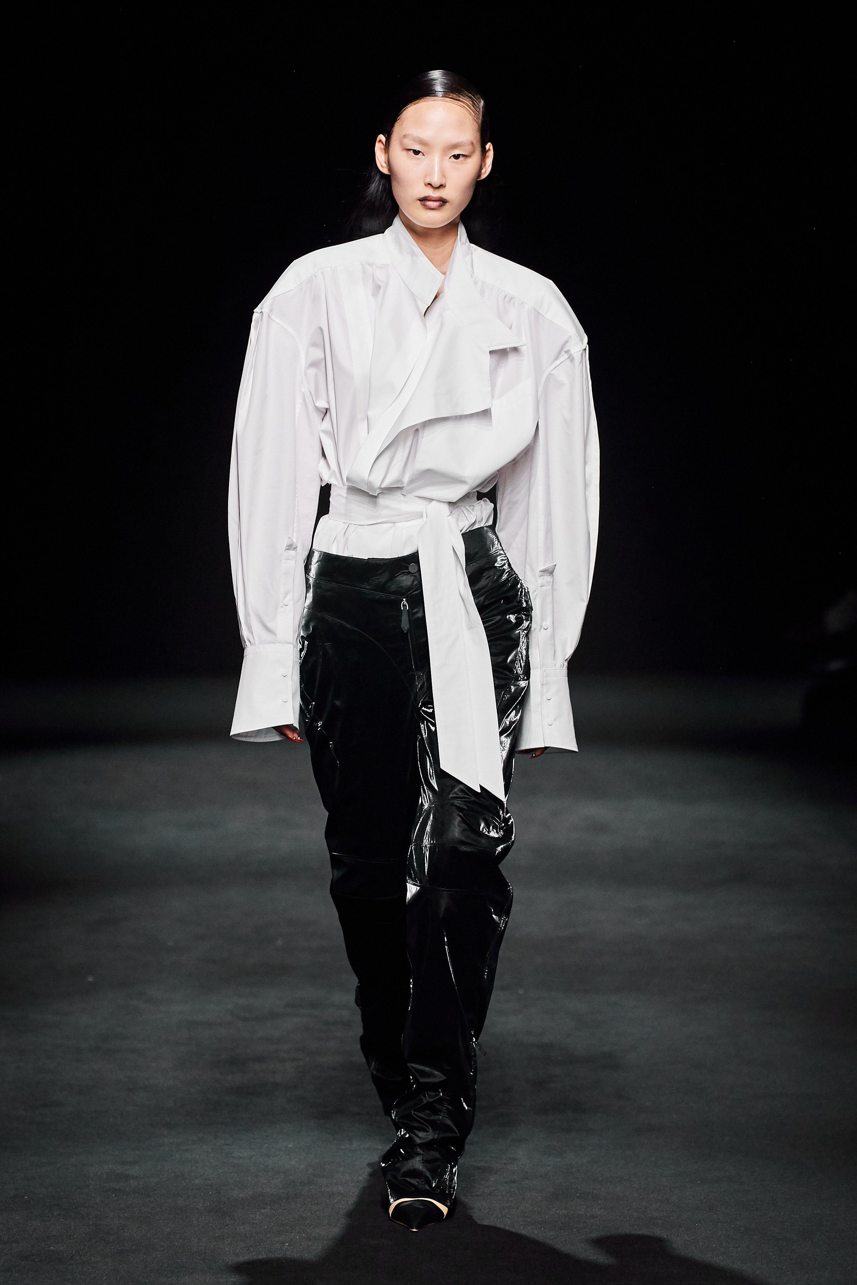 Mugler Runway Oversized Tie Front Longsleeve Shirt Reflective Loose Fit Trousers Fall 20