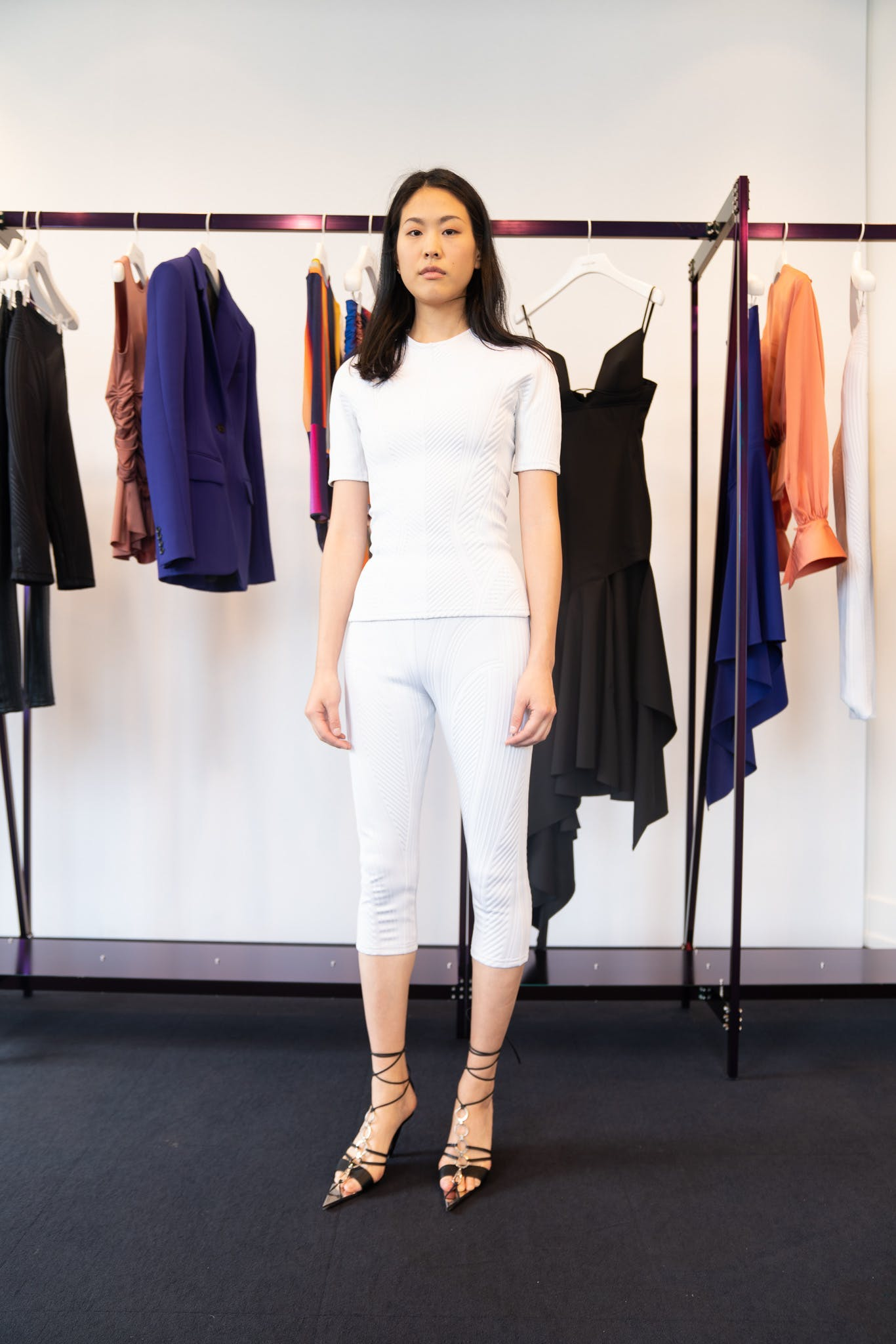 Mugler Showroom Short Sleeve Scuba Shirt in White Three Quarter Length Scuba Leggings in White Tie Up Heels in Black Spring 20 RTW