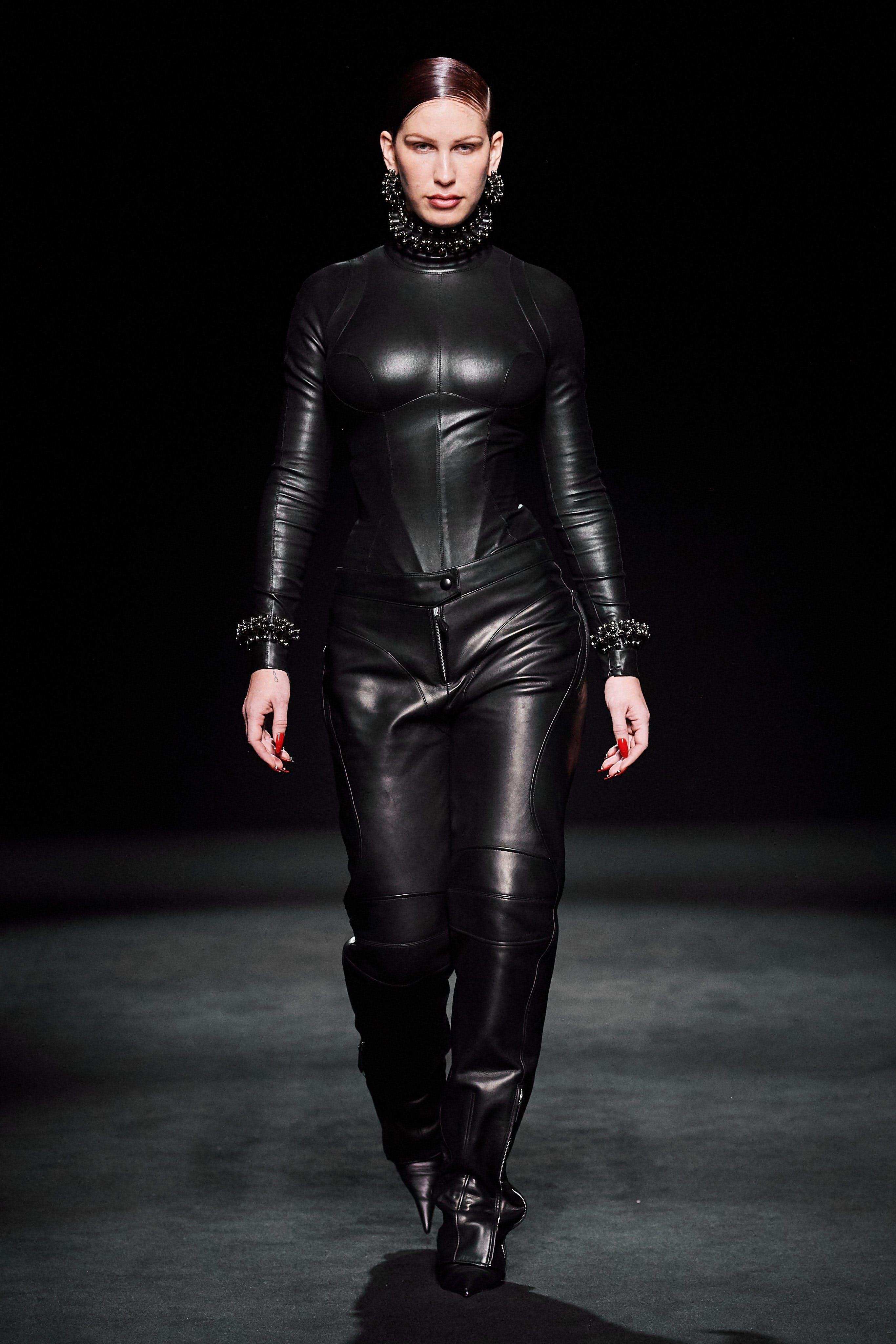 Mugler Runway Highneck Longsleeve Bodysuit in Black Leather Sidezip Trousers Fall 20