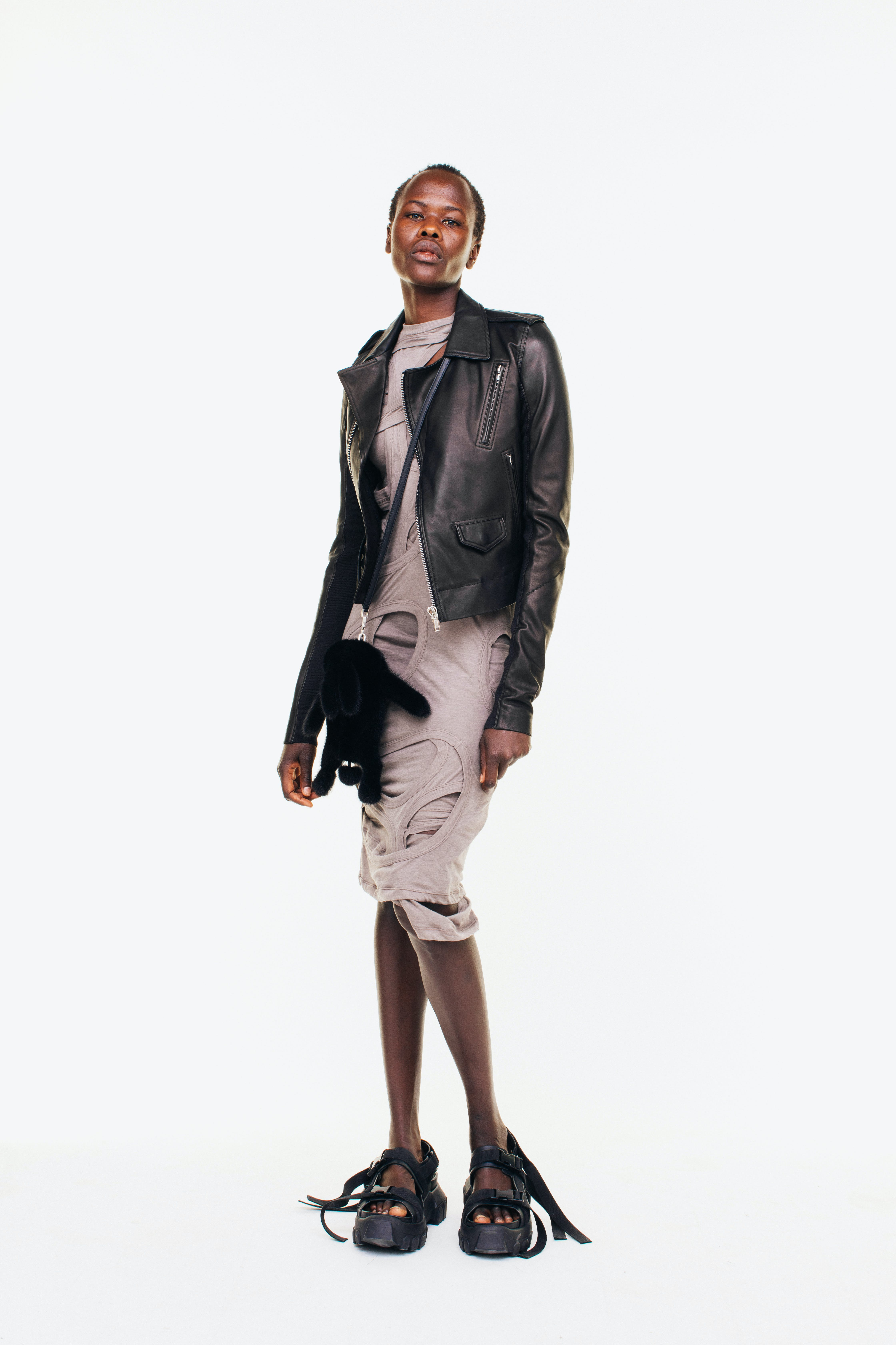 Rick Owens Campaign Biker Leather Jacket in Black Cutout Dress in Dust Long Strap Sandals in Black Hun Bunny Bag in Black Womens SS19 Pre Collection