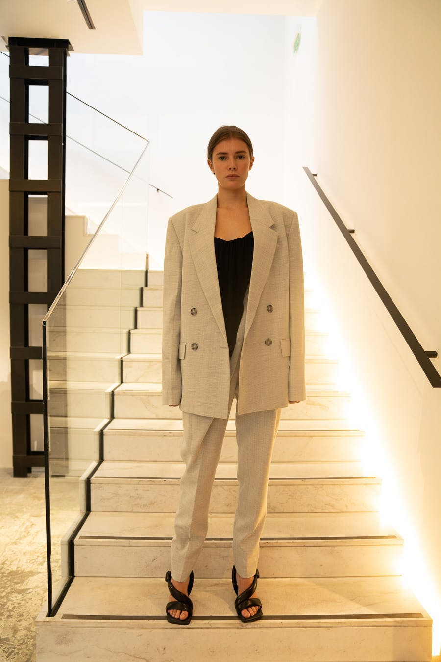 Proenza Schouler Oversized Blazer in Light Grey Trousers in Light Grey Spring 20 RTW