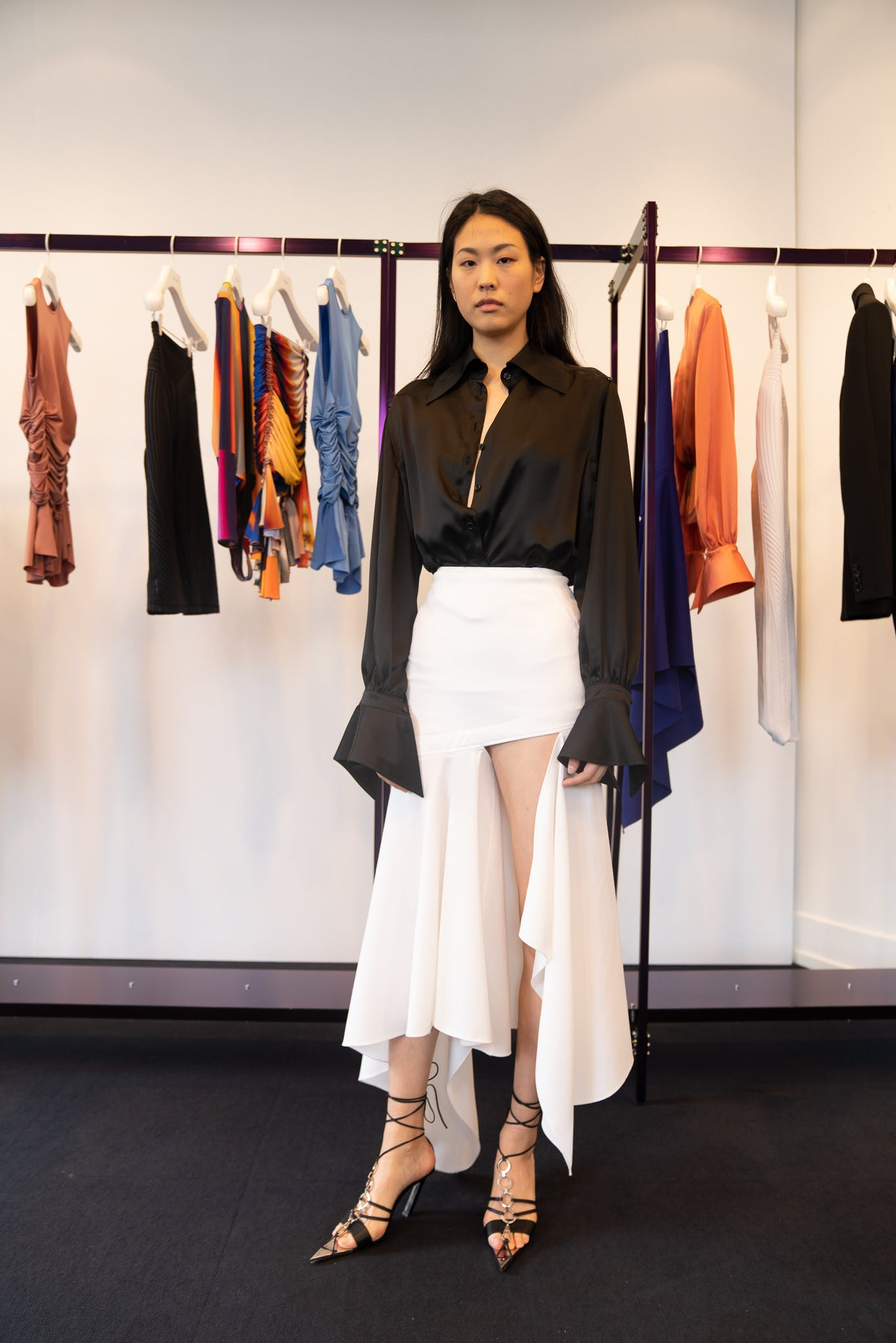 Mugler Showroom Long Sleeve Button Up Collar Shirt Mixed Length Skirt in White Spring 20 RTW