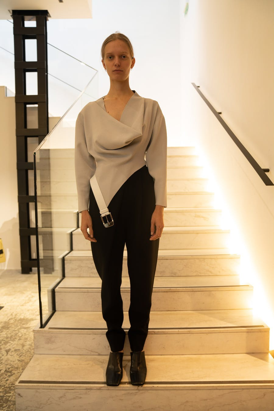Proenza Schouler Belted Cowl Neck Top in Grey High Waisted Trousers in Black Spring 20 RTW