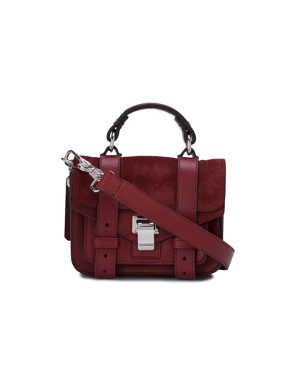 Proenza Schouler Red Lamskin Calk Leather Mixed PS1 Micro Crossbody Bag