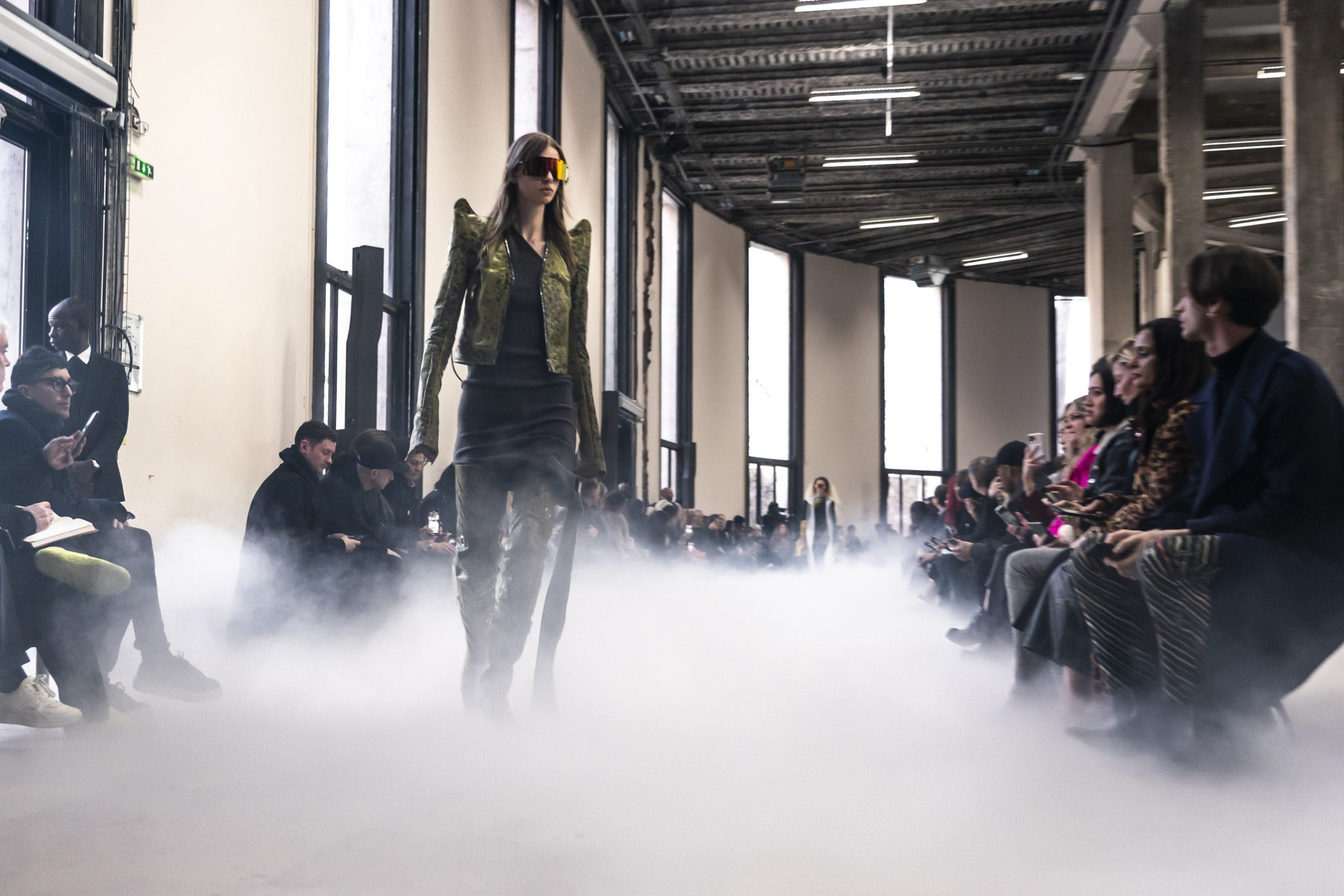 Rick Owens Runway Shield Reflective Sunglasses Sharp Shoulder Leather Jacket In Green Knot Dress High Leather Boots in Green Womens FW20 Performa
