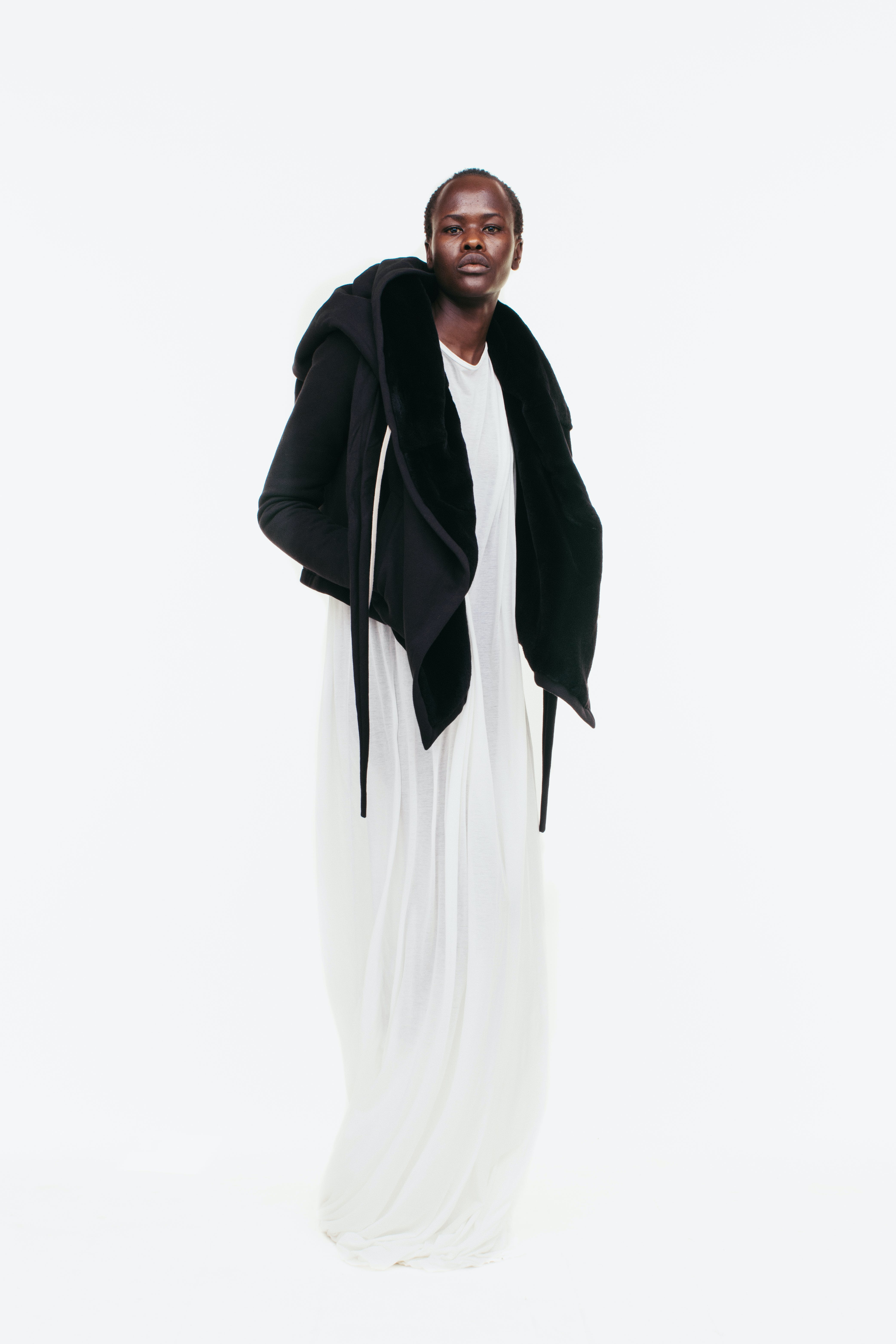 Rick Owens Campaign Oversized Hooded Wrap in Black Draped T Shirt Dress Womens SS19 Pre Collection