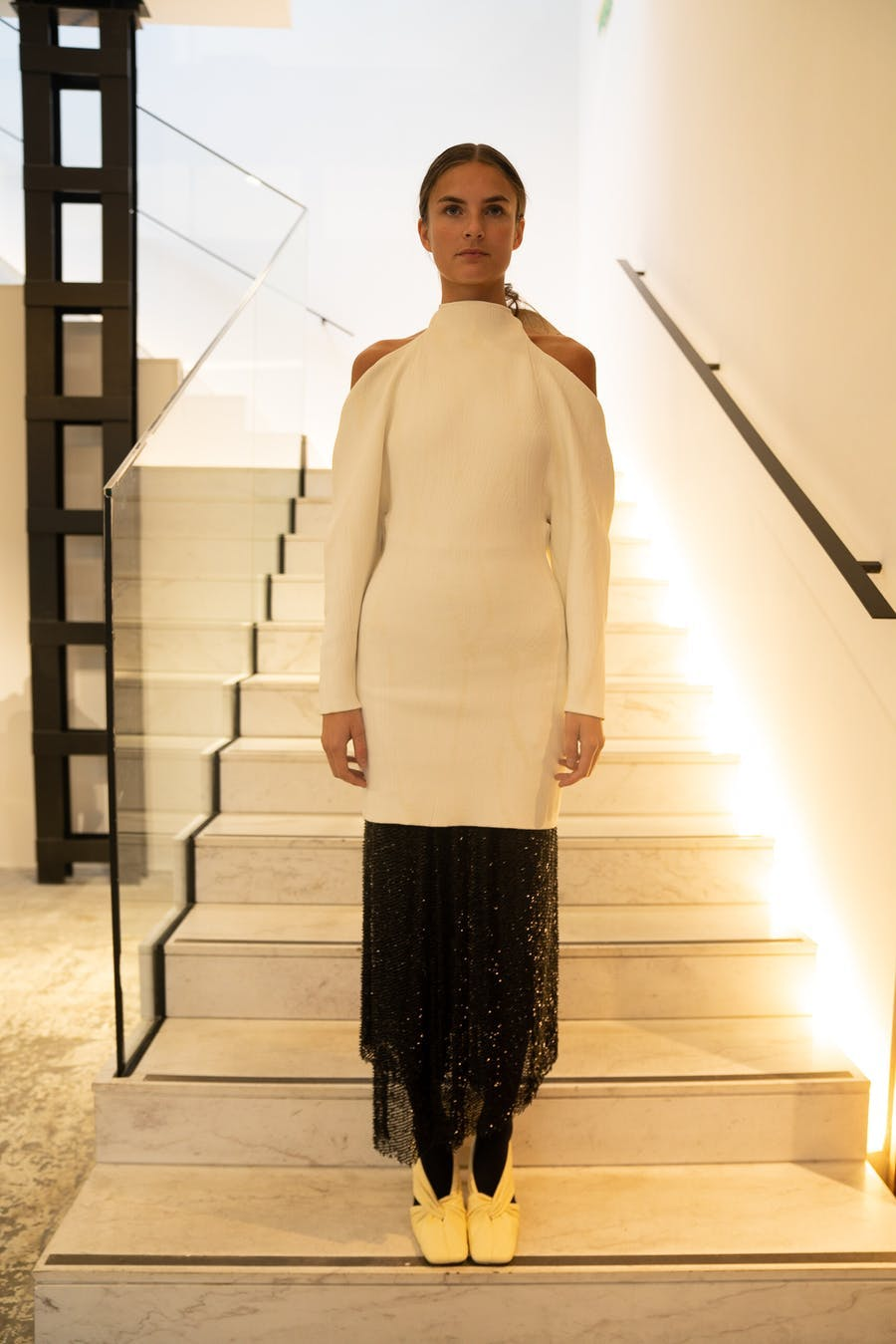 Proenza Schouler Exposed Shoulder Dress in White Sequins Skirt in Black Spring 20 RTW
