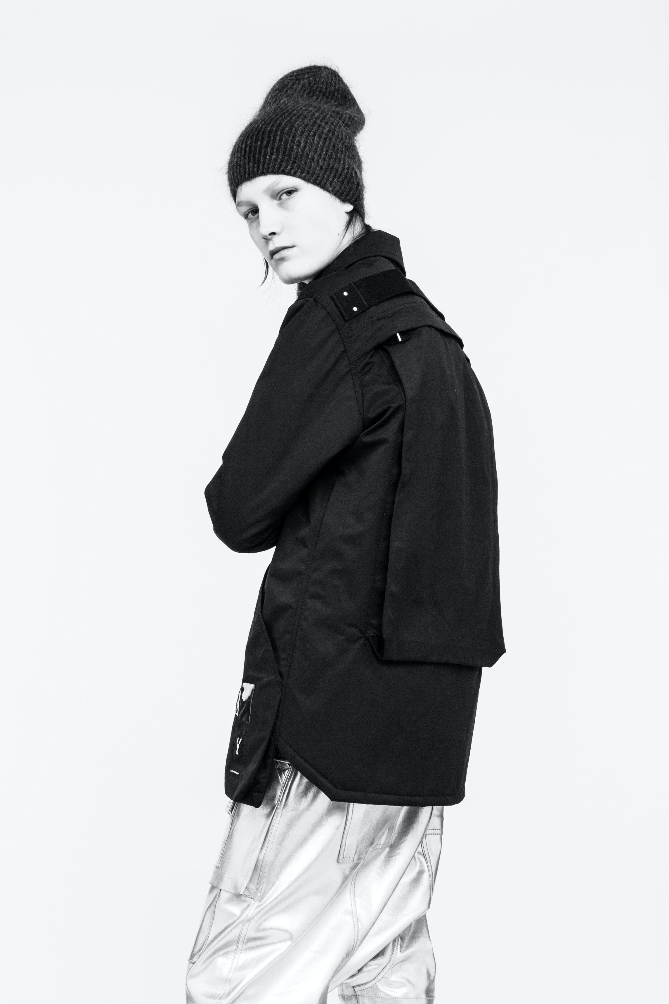 Rick Owens Campaign Snap Front Patch DRKSHDW Jacket With Back Zip Pocket Silver Reflective Trousers Womens SS19 Babel