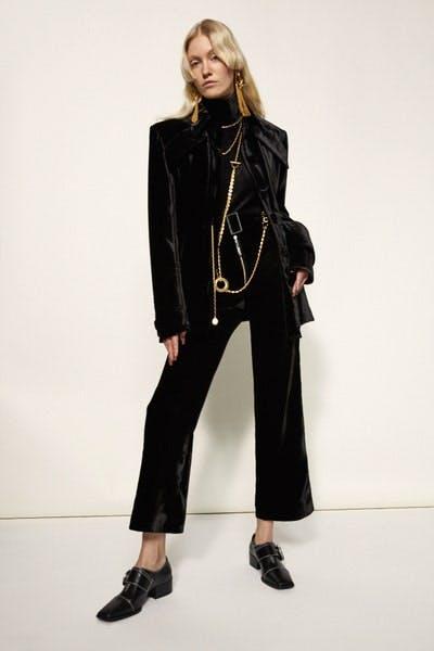 Ellery Velvet Oversized Shirt Jacket in Black Supervision Belted Flared Trousers in Black Fall 19 RTW