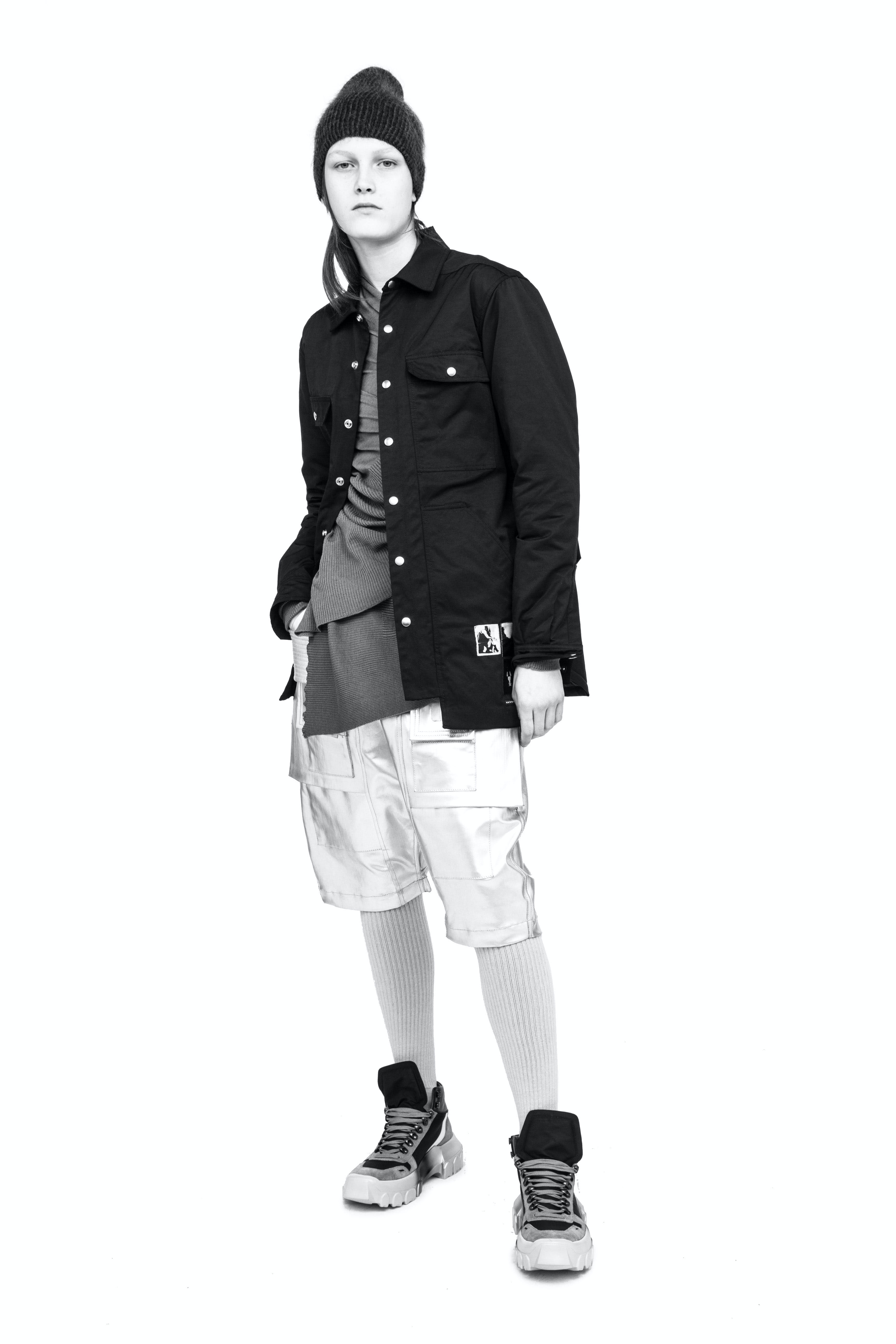 Rick Owens Campaign Snap Front Patch DRKSHDW Jacket Creatch Pods in Metallic Silver Multi Fabric Tractor Sneakers Womens SS19 Babel