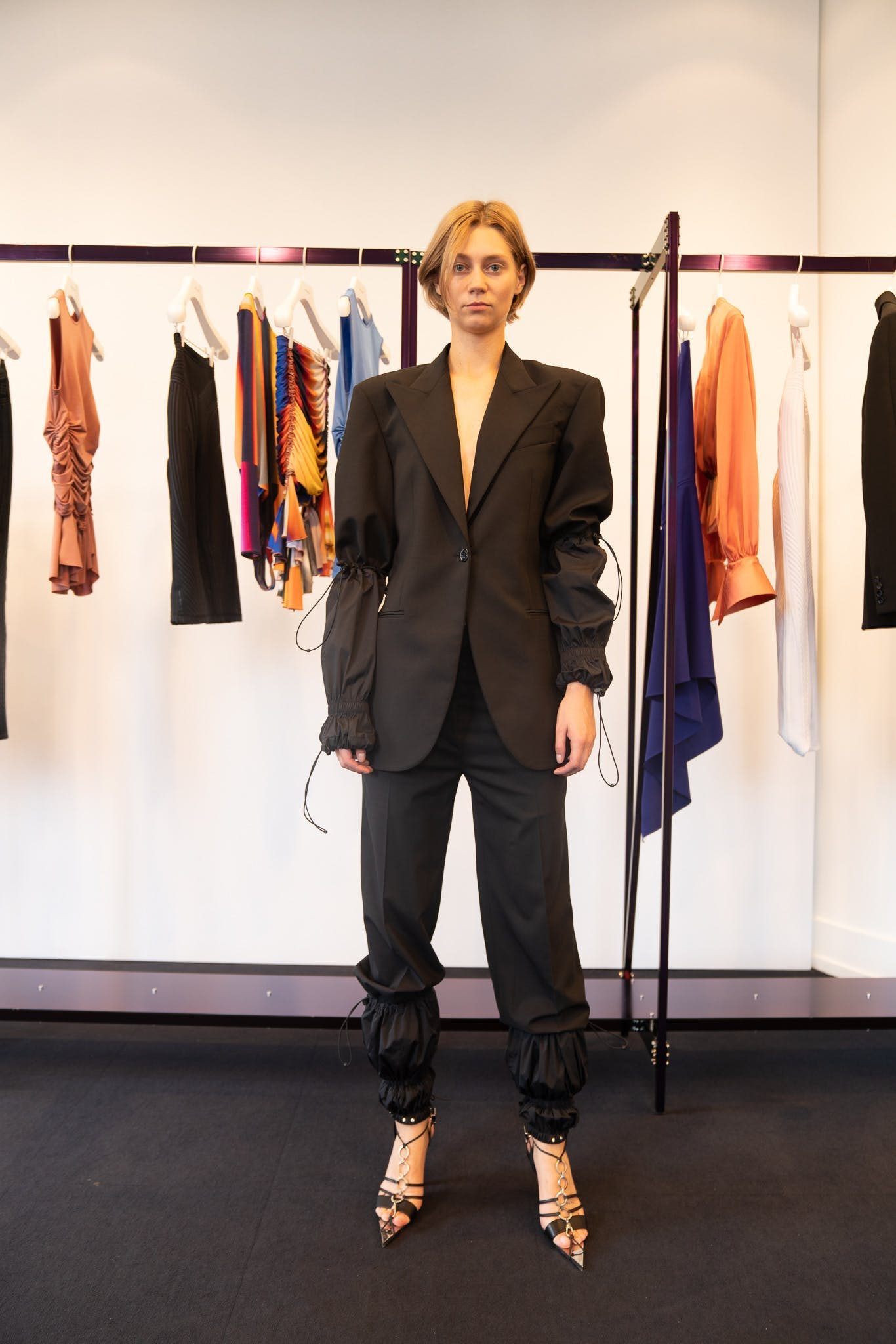 Mugler Showroom Arm Drawstring Blazer Leg Drawstring Bottom Trousers Spring 20 RTW
