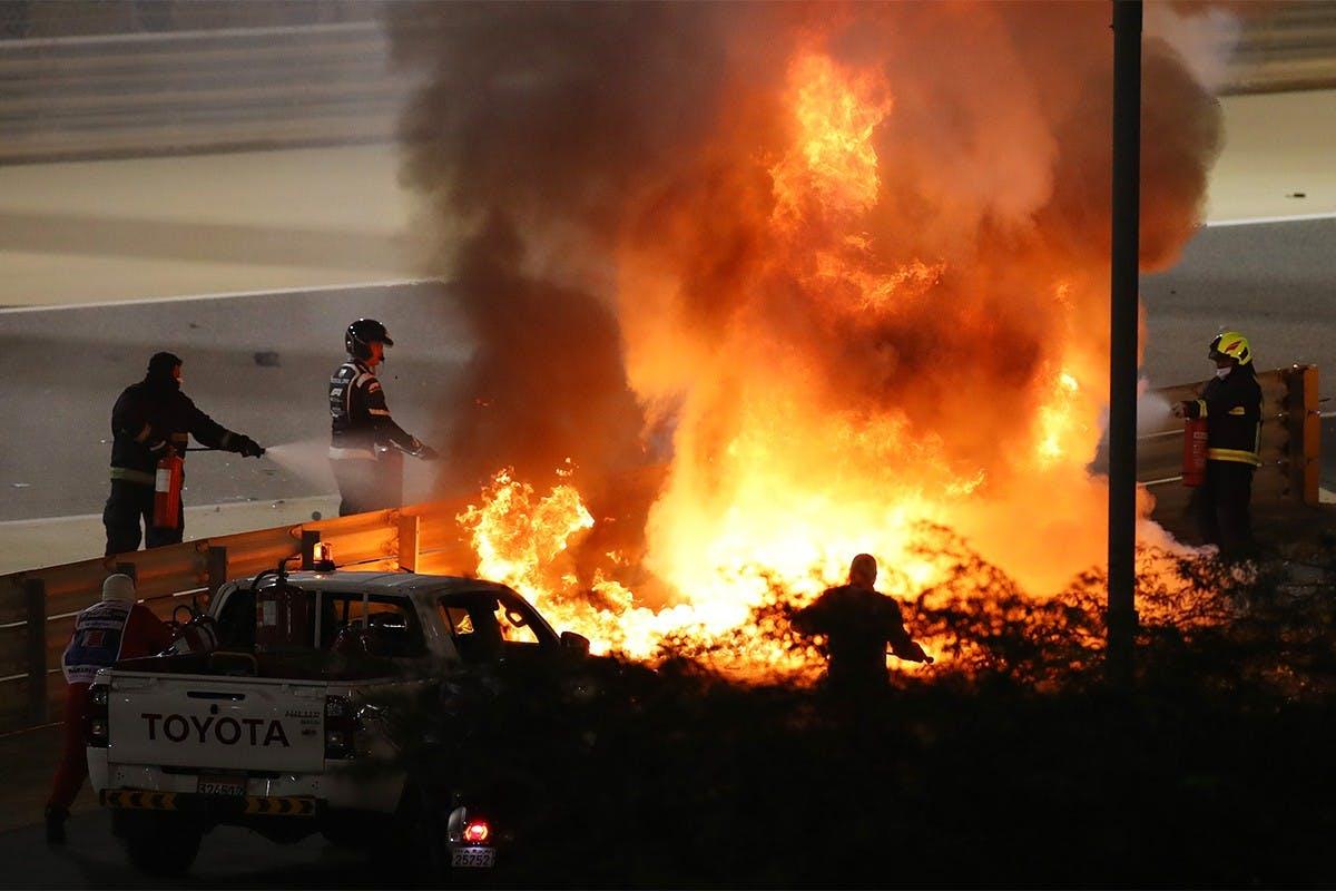FORMULA 1 DRIVER ROMAIN GROSJEAN SURVIVES AFTER CAR SPLITS IN HALF
