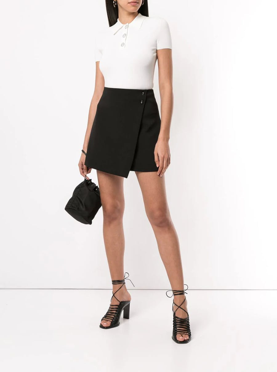 Dion Lee Destiny Polo in White Fold Over Mini Skirt in Black Spring 19 RTW